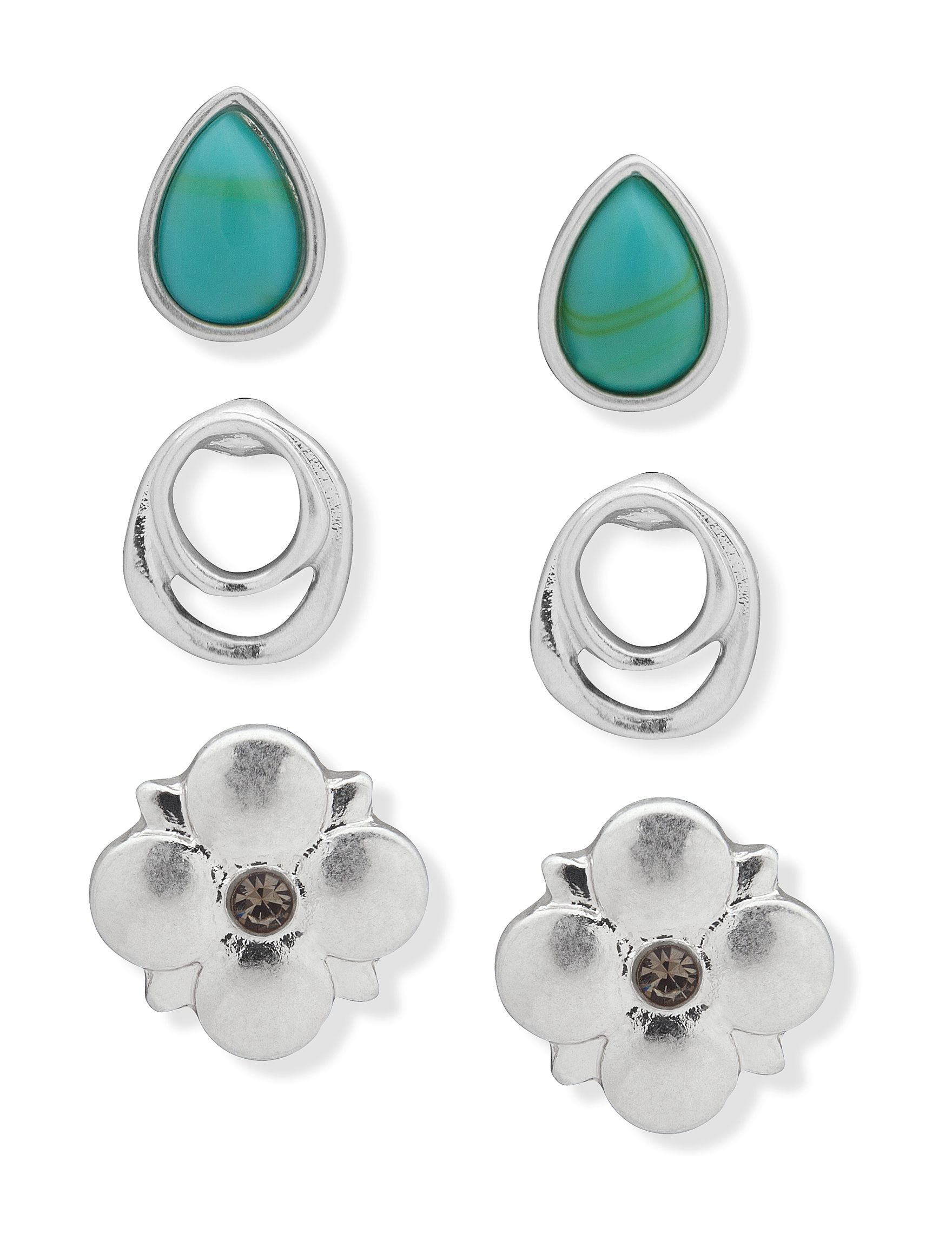 Chaps Turquoise / Silver Fashion Watches Studs Earrings Fashion Jewelry
