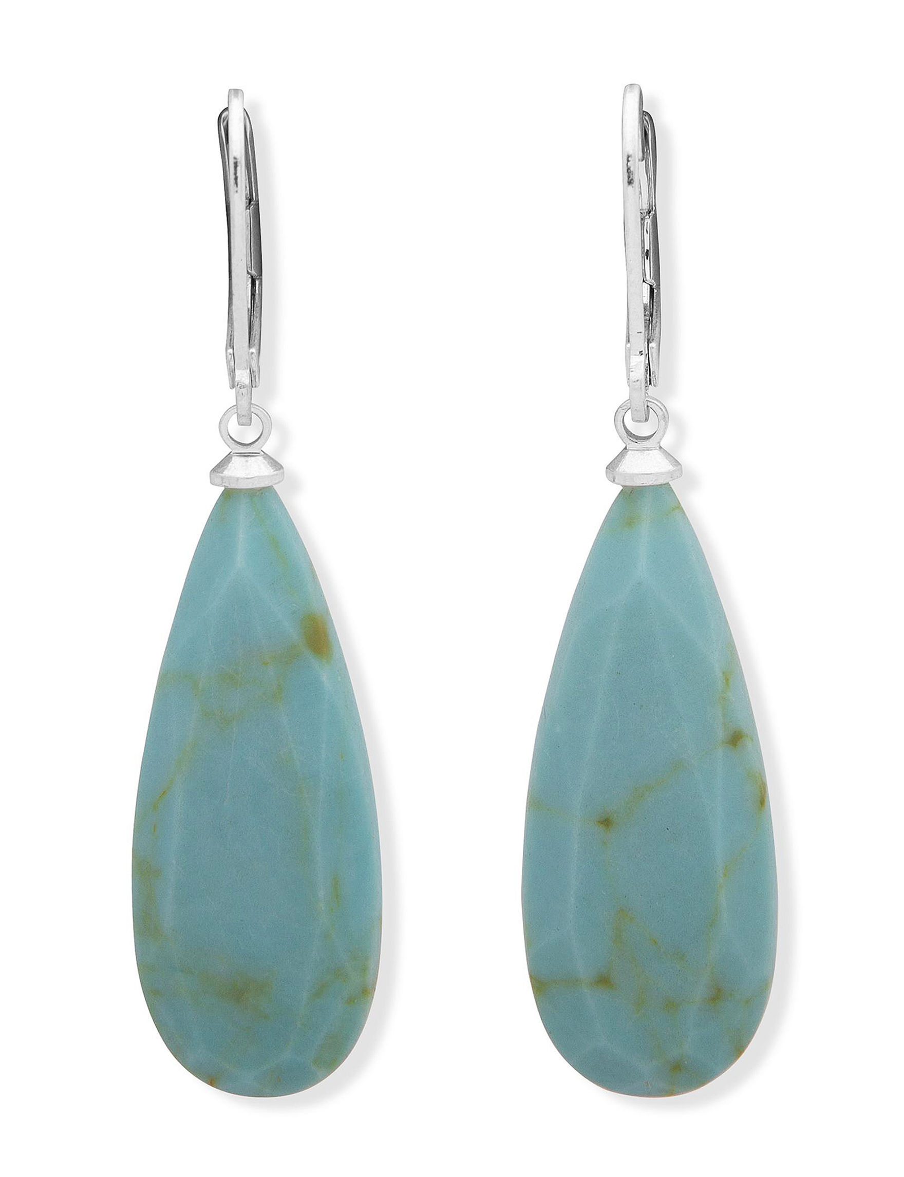 Chaps Turquoise / Silver Drops Earrings Fashion Jewelry