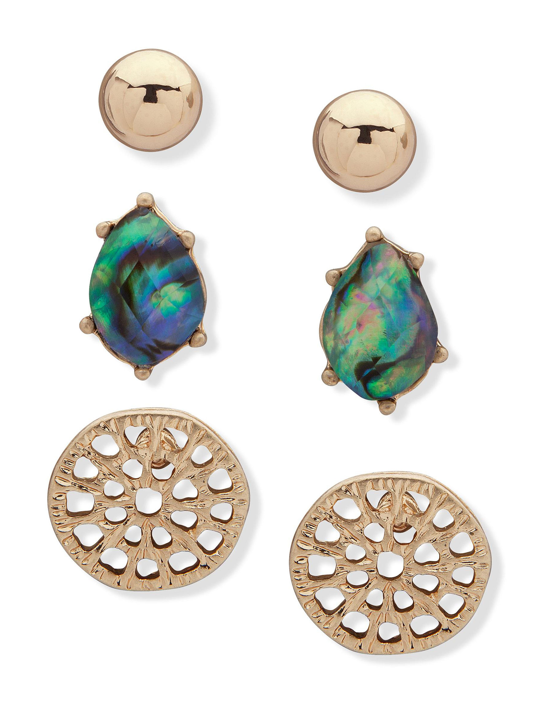 Chaps Gold / Abalone Studs Earrings Fashion Jewelry