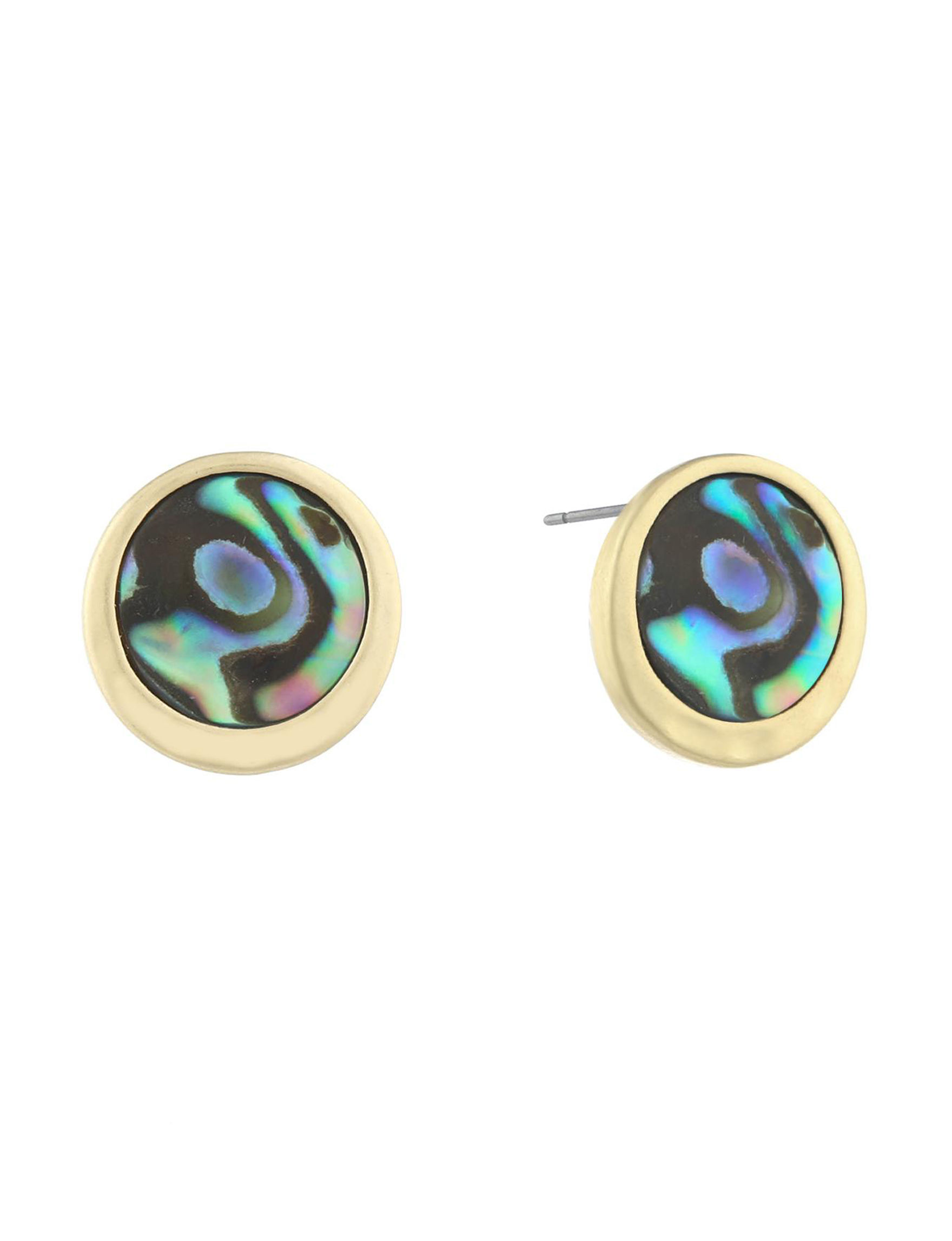 Chaps Gold / Abalone Studs Earrings Fashion Jewelry