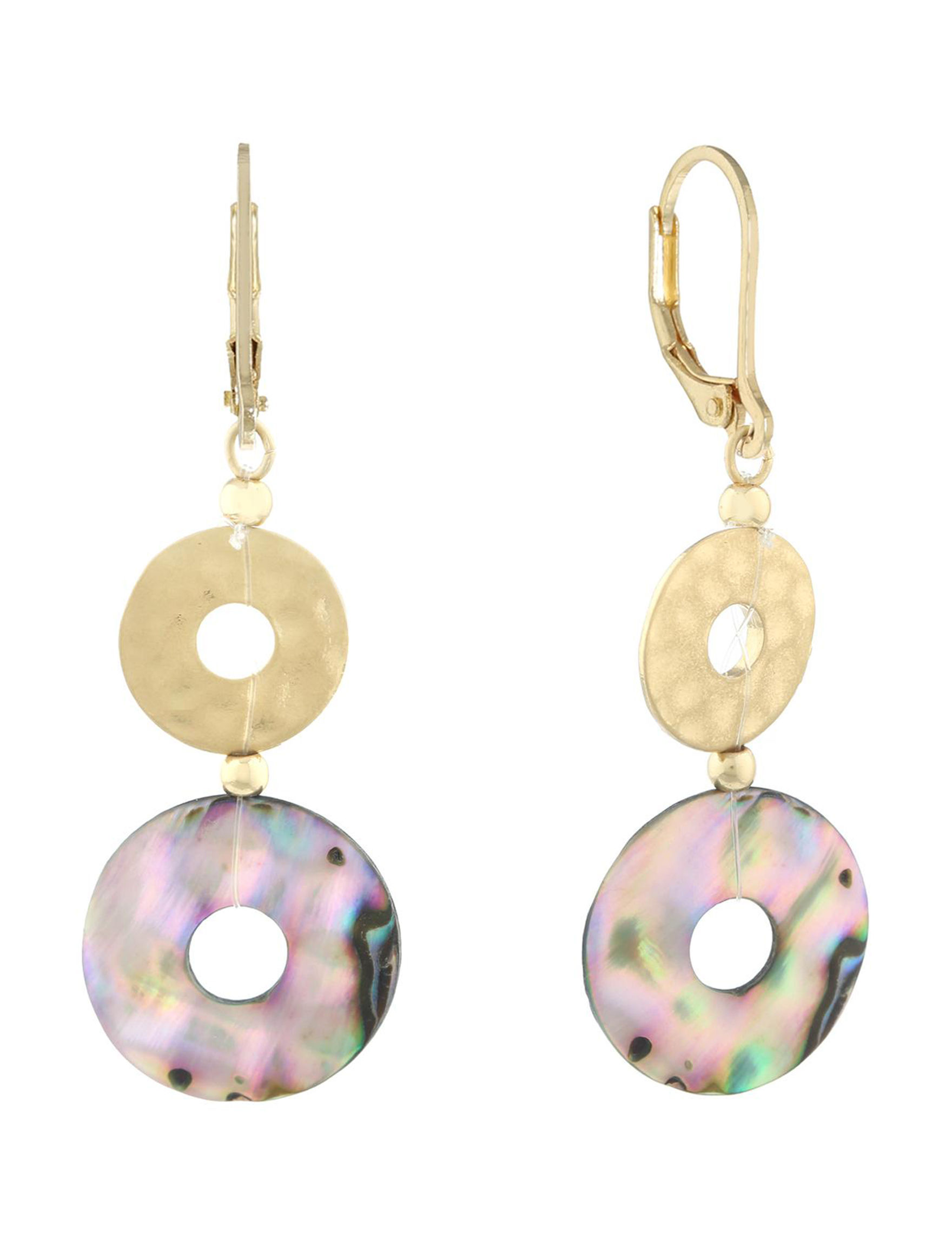 Chaps Gold / Abalone Drops Earrings Fashion Jewelry