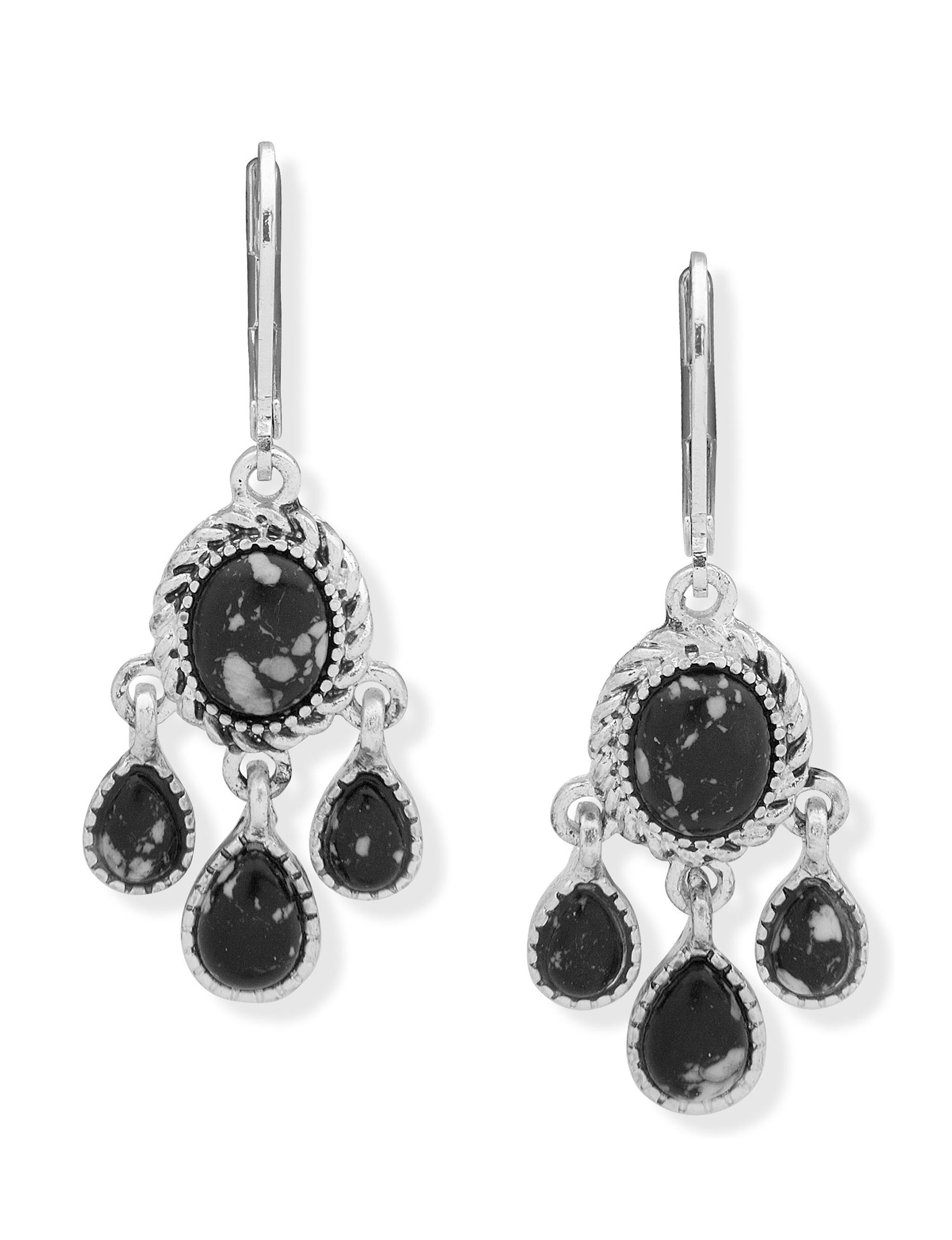Chaps Black Drops Earrings Fashion Jewelry