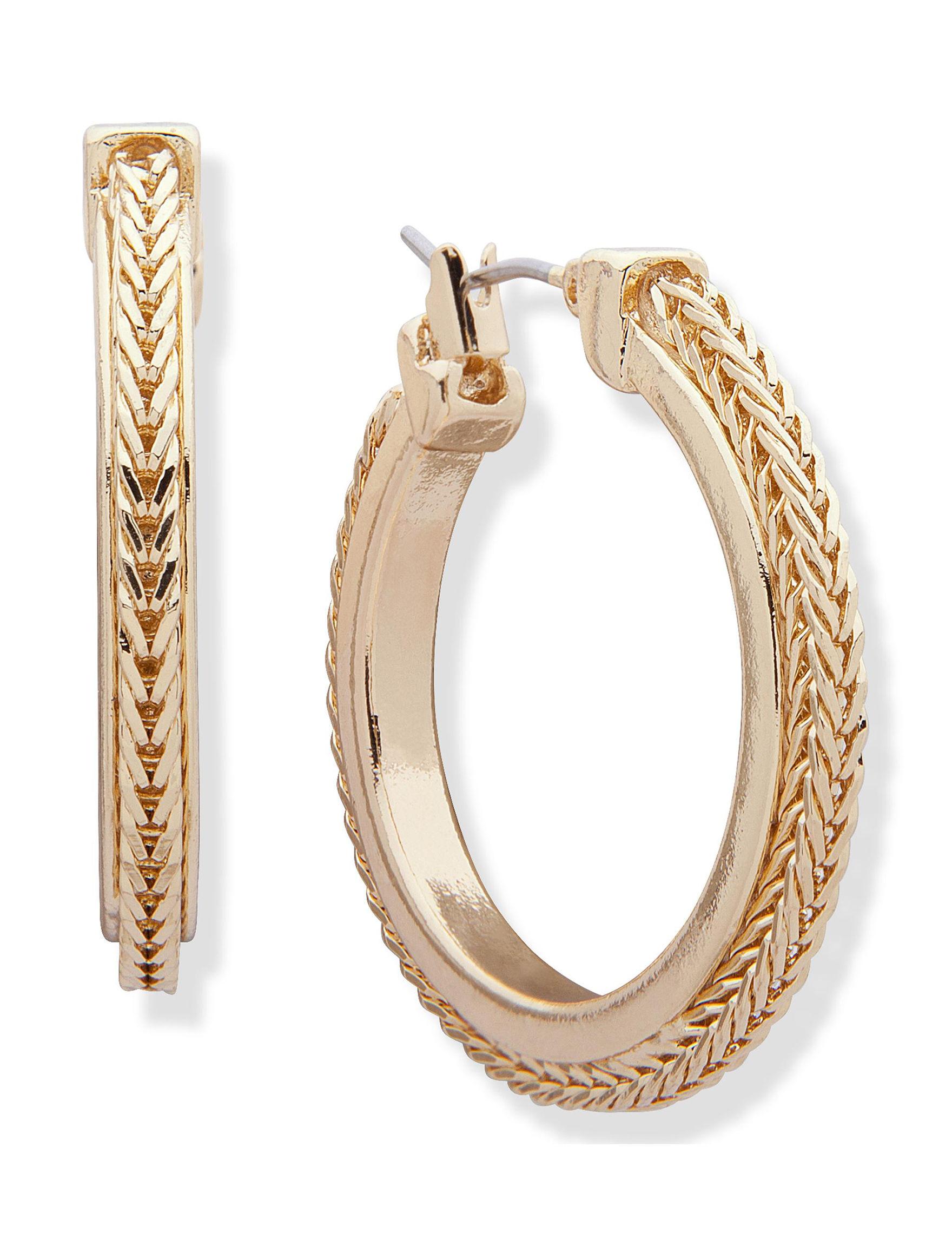 Chaps Gold Hoops Earrings Fashion Jewelry