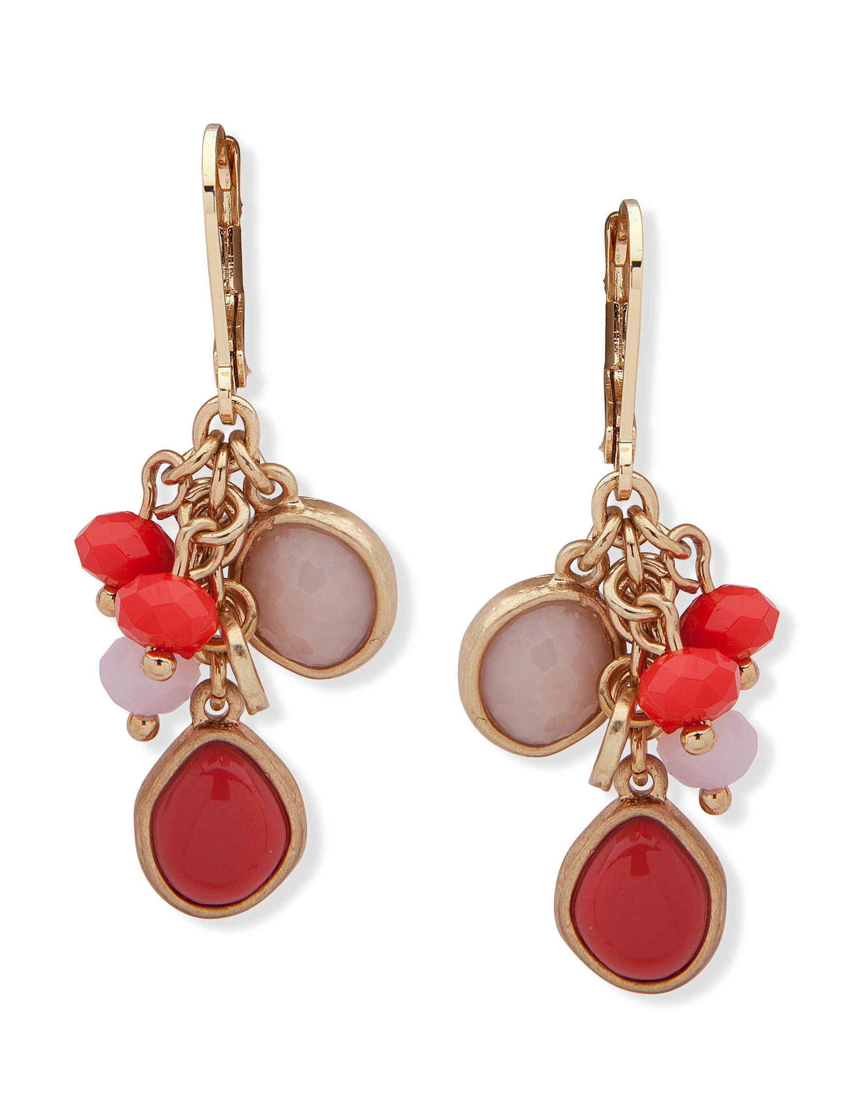 Chaps Coral Multi Drops Earrings Fashion Jewelry