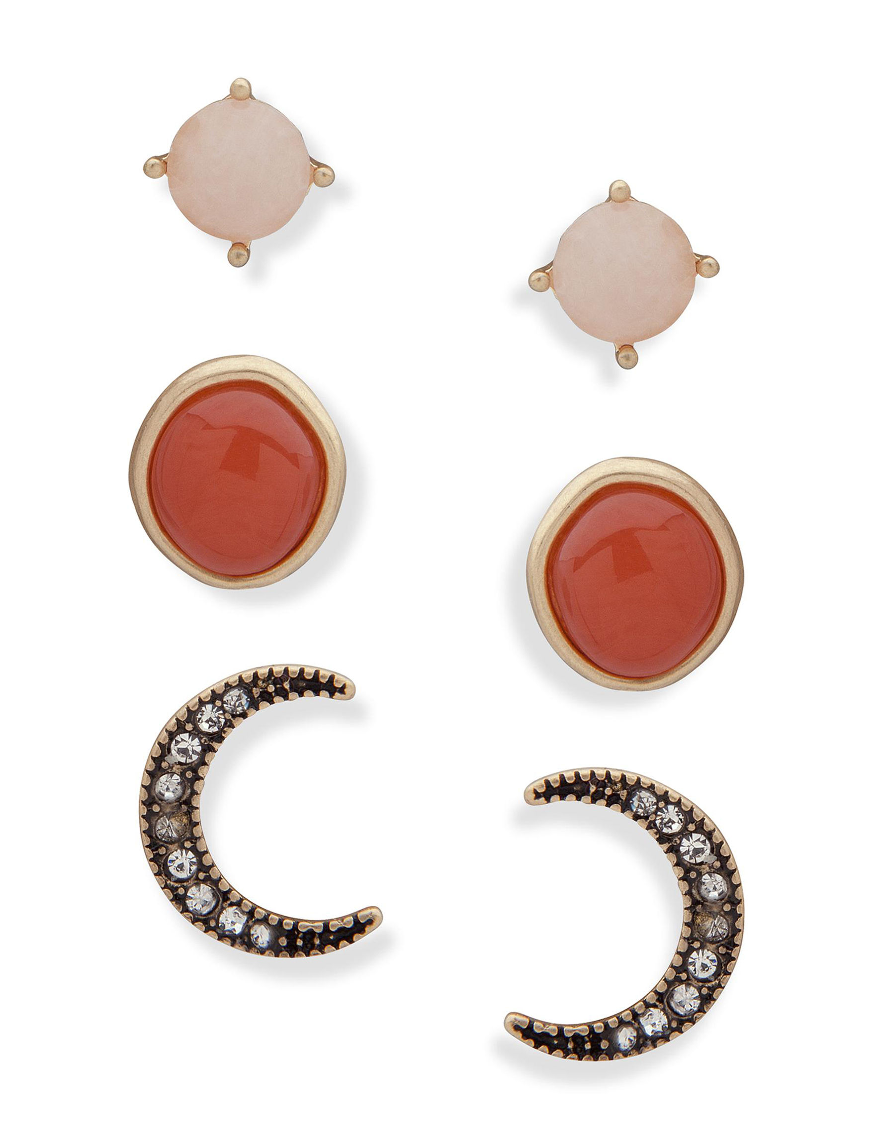 Chaps Coral Multi Studs Earrings Fashion Jewelry