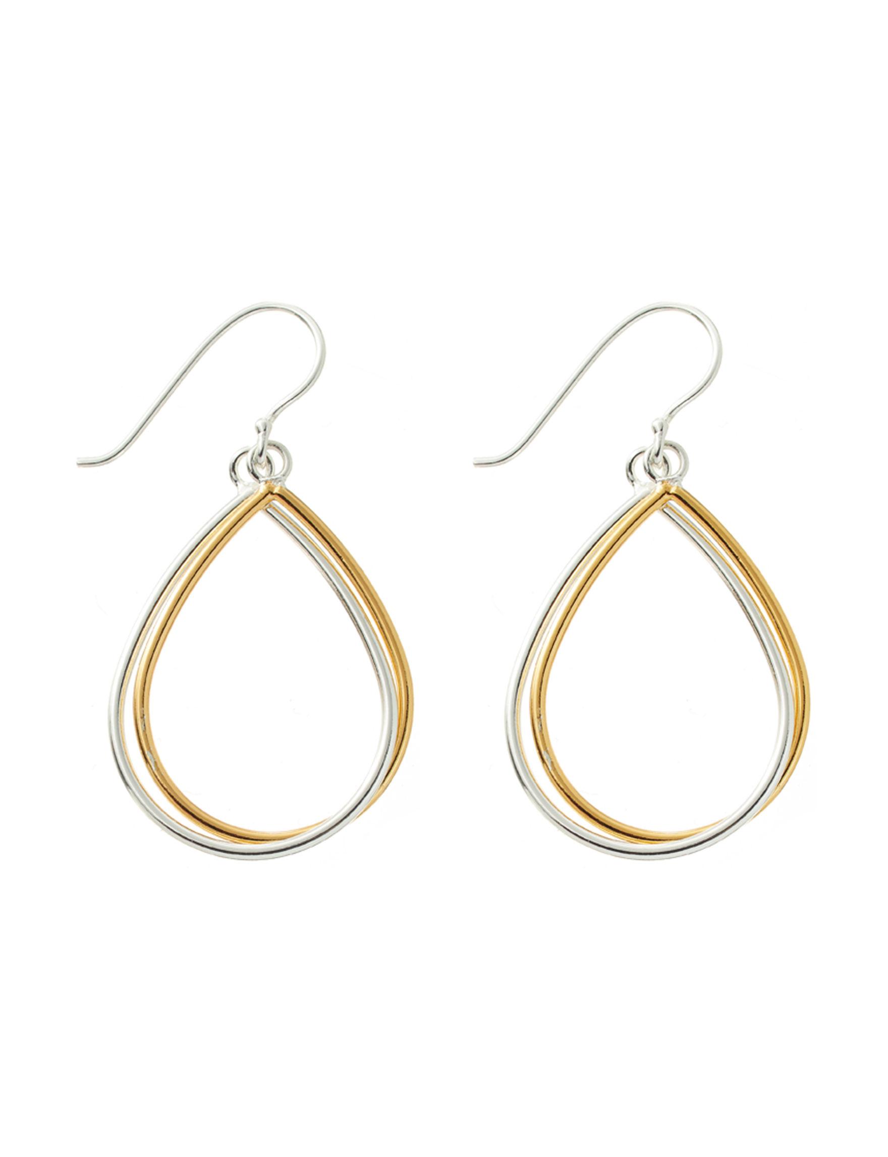 Danecraft Two Tone Drops Earrings Fine Jewelry