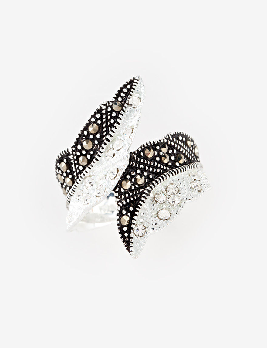 Marsala Black/Silver/Crystal Rings Fine Jewelry