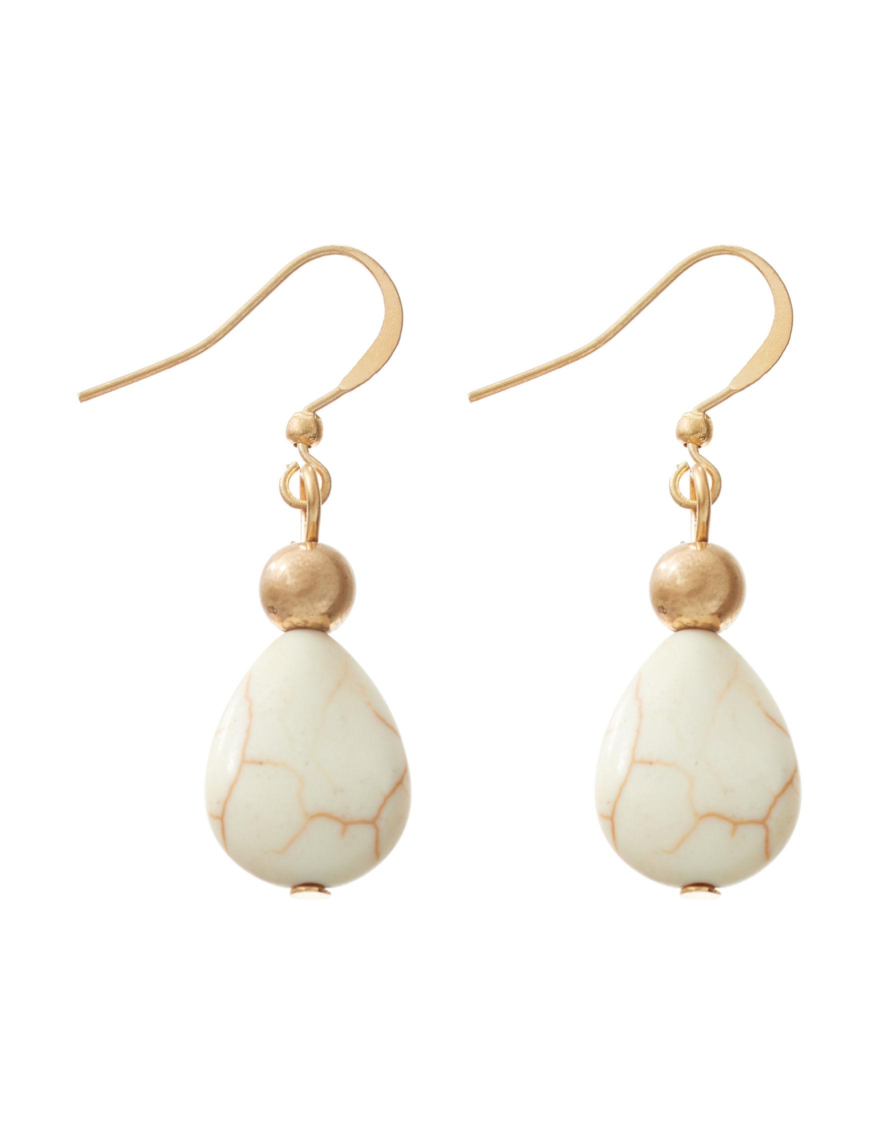Hannah Gold / Beige Drops Earrings Fashion Jewelry