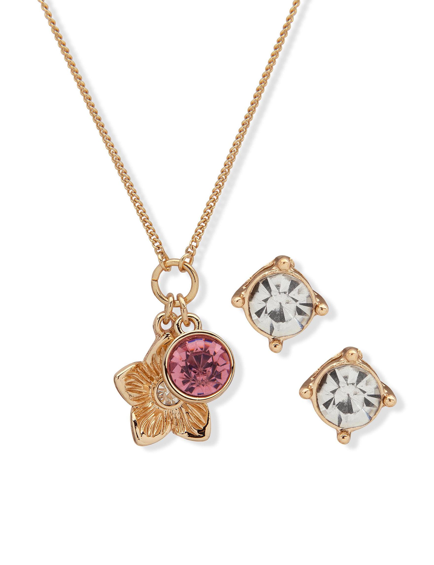 Nine West Pink / Gold Jewelry Sets Fashion Jewelry