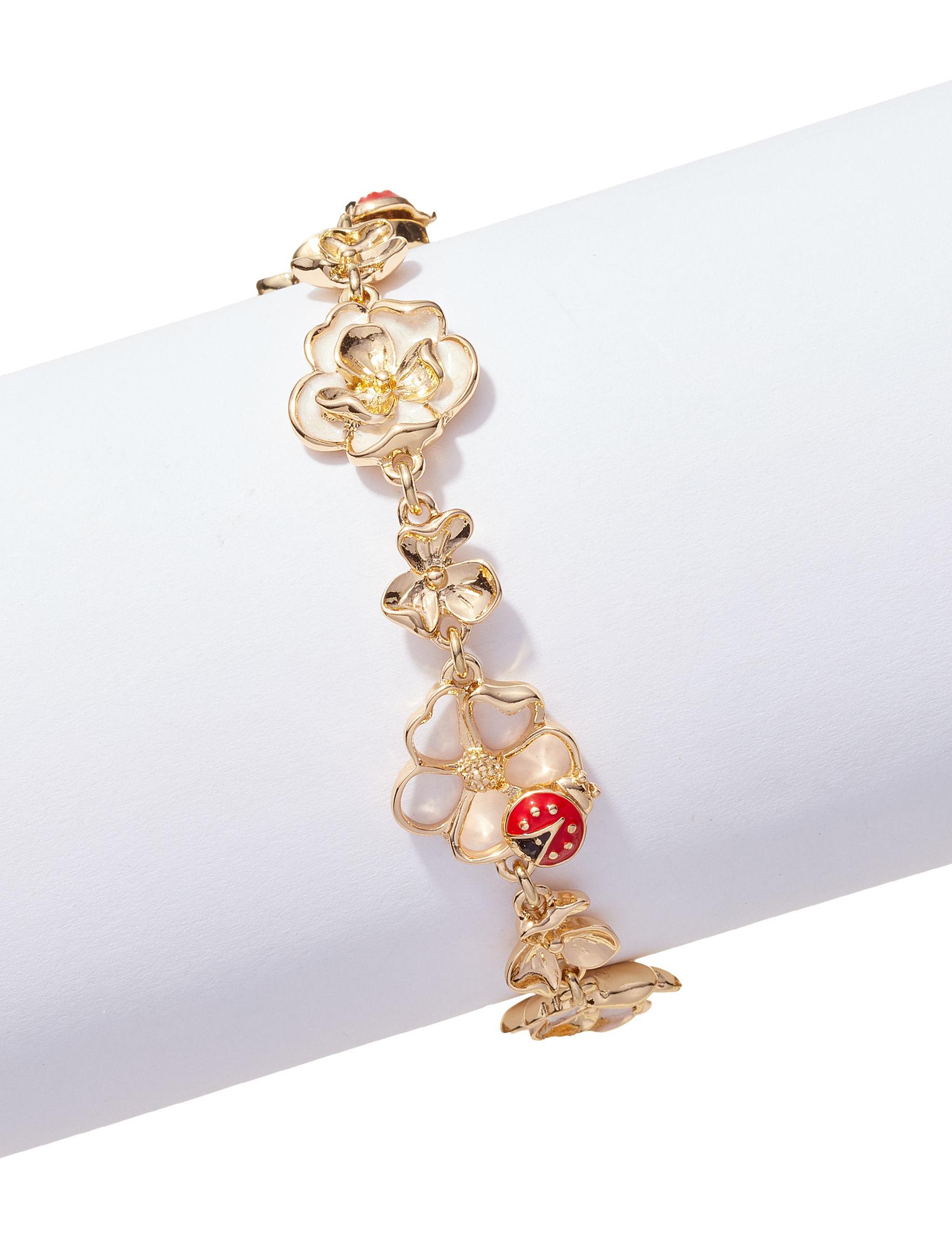 Napier Red / Gold Bracelets Fashion Jewelry
