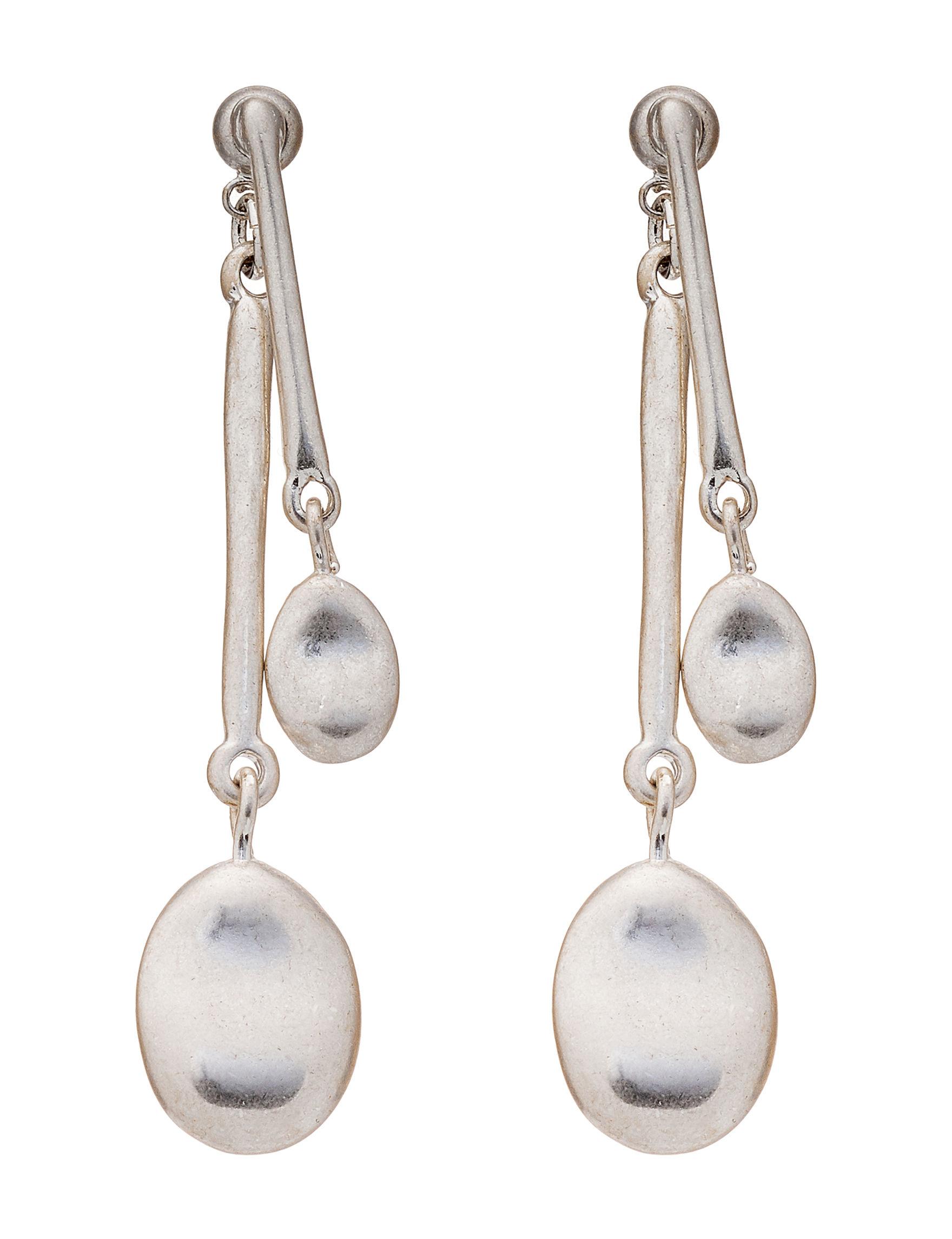 Bella Uno Silver Drops Earrings Fashion Jewelry