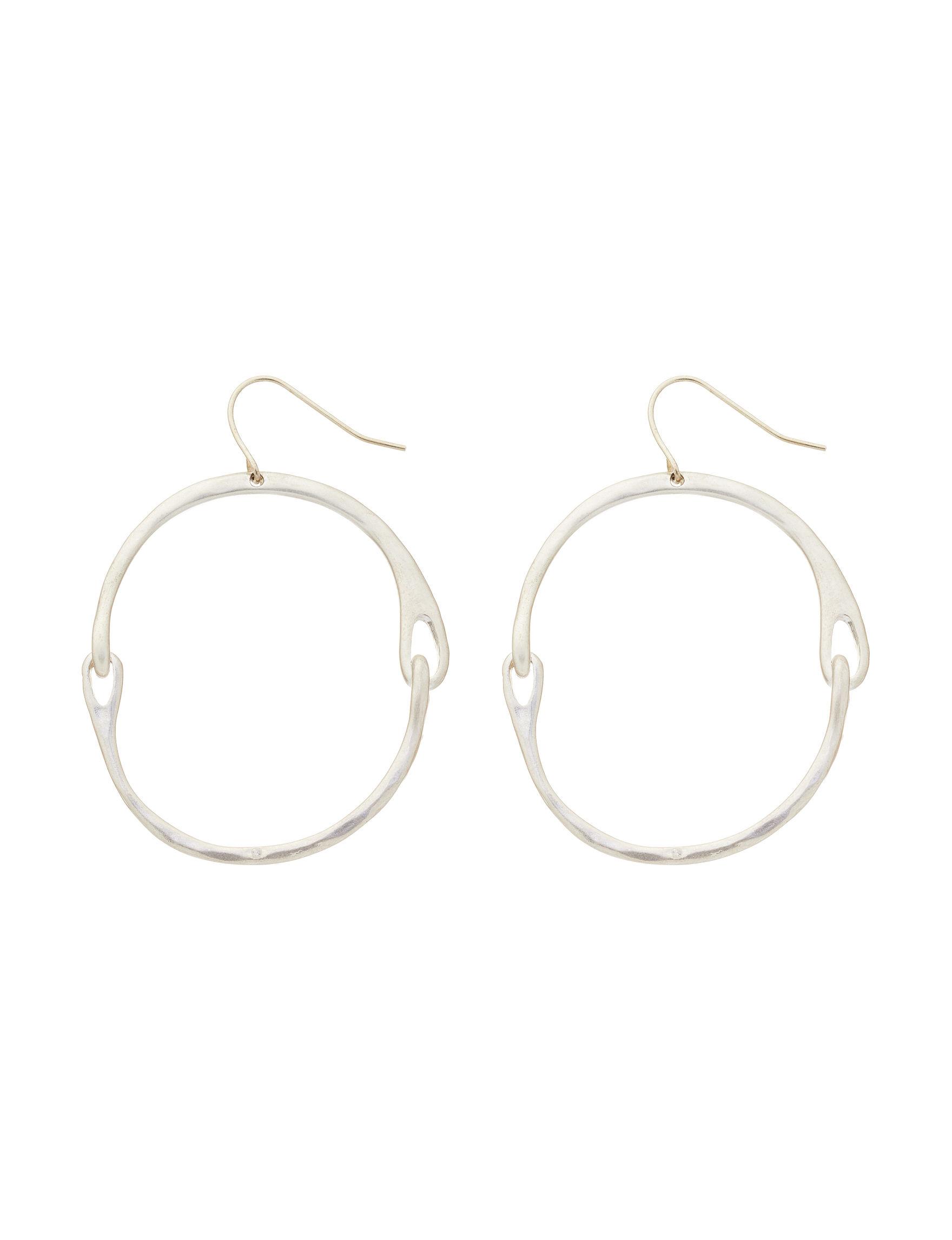 Bella Uno Silver Hoops Earrings Fashion Jewelry
