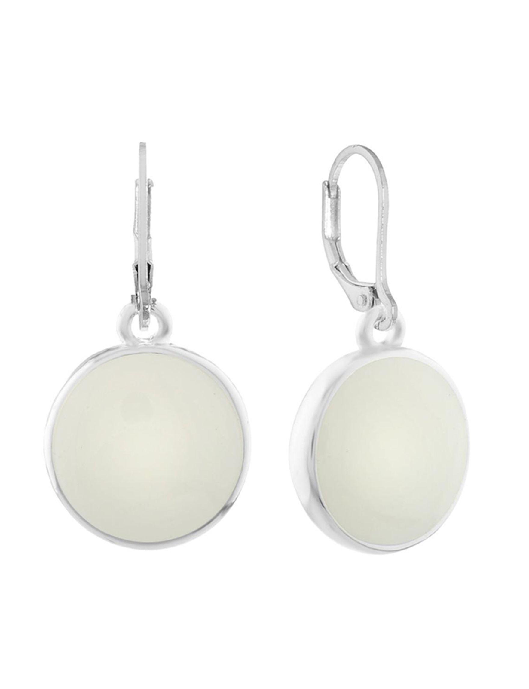 Gloria Vanderbilt Silver / White Drops Earrings Fashion Jewelry