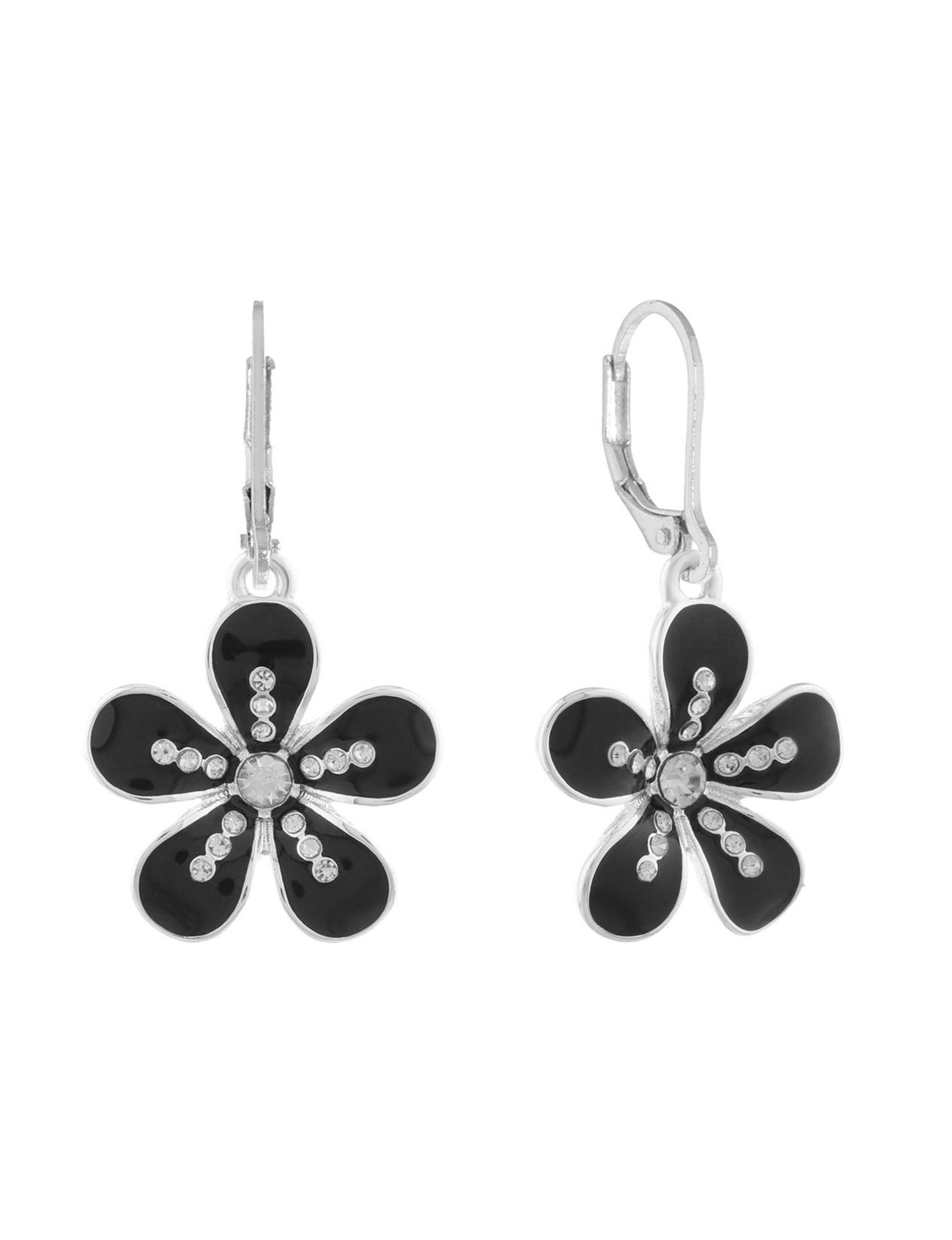 Gloria Vanderbilt Black / Silver Drops Earrings Fashion Jewelry