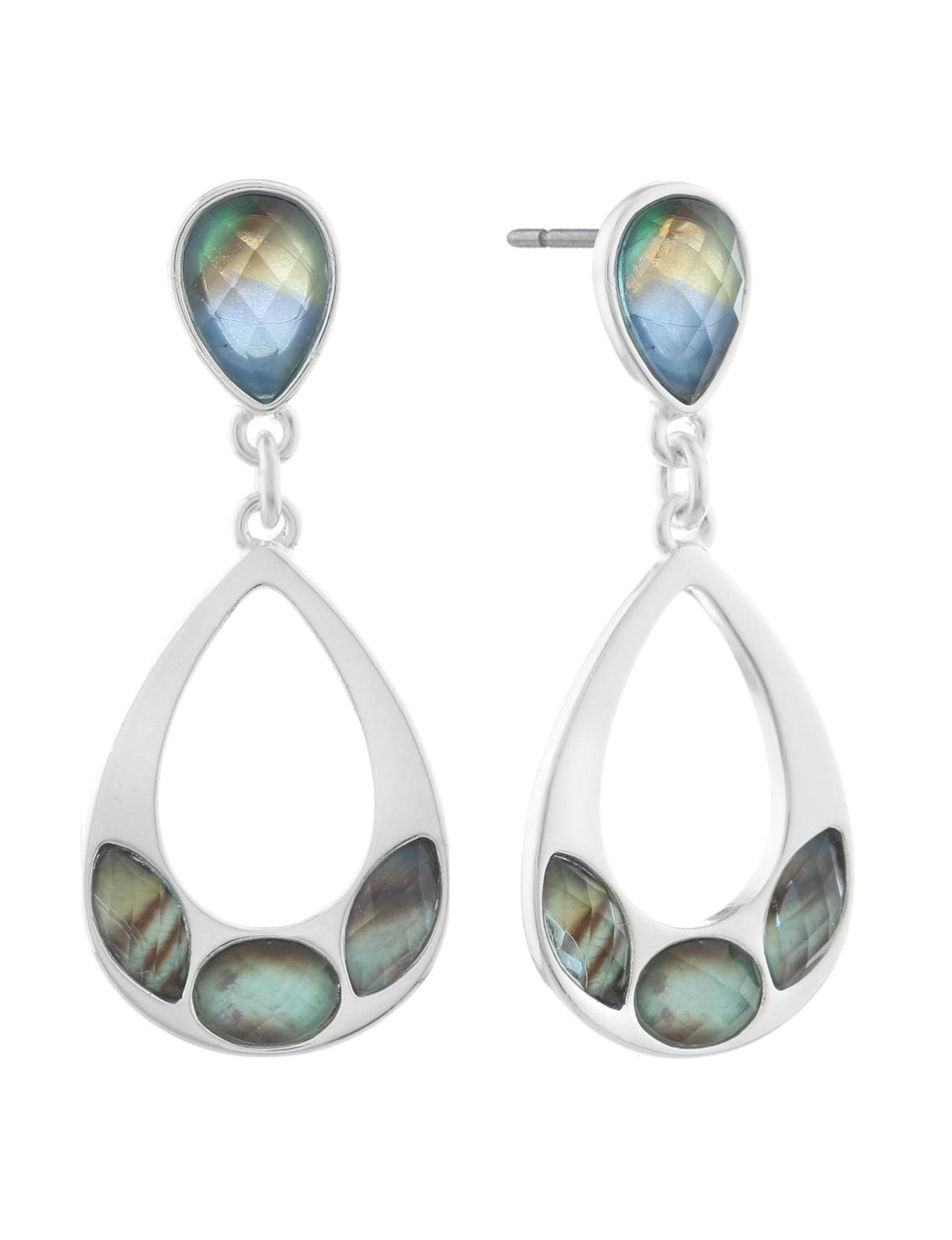 Gloria Vanderbilt Silver / Blue Multi Drops Earrings Fashion Jewelry