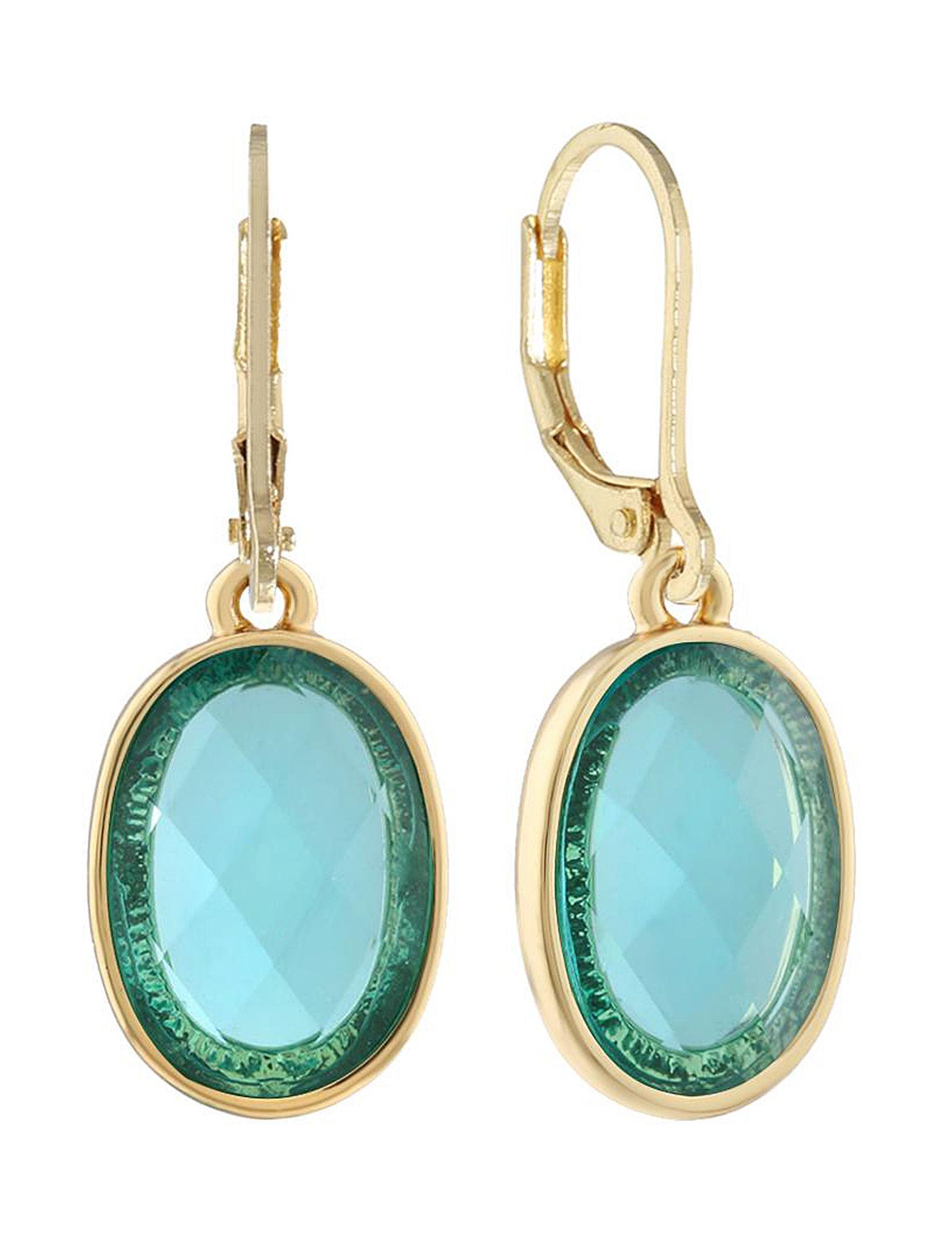 Gloria Vanderbilt Gold / Aqua Drops Earrings Fashion Jewelry