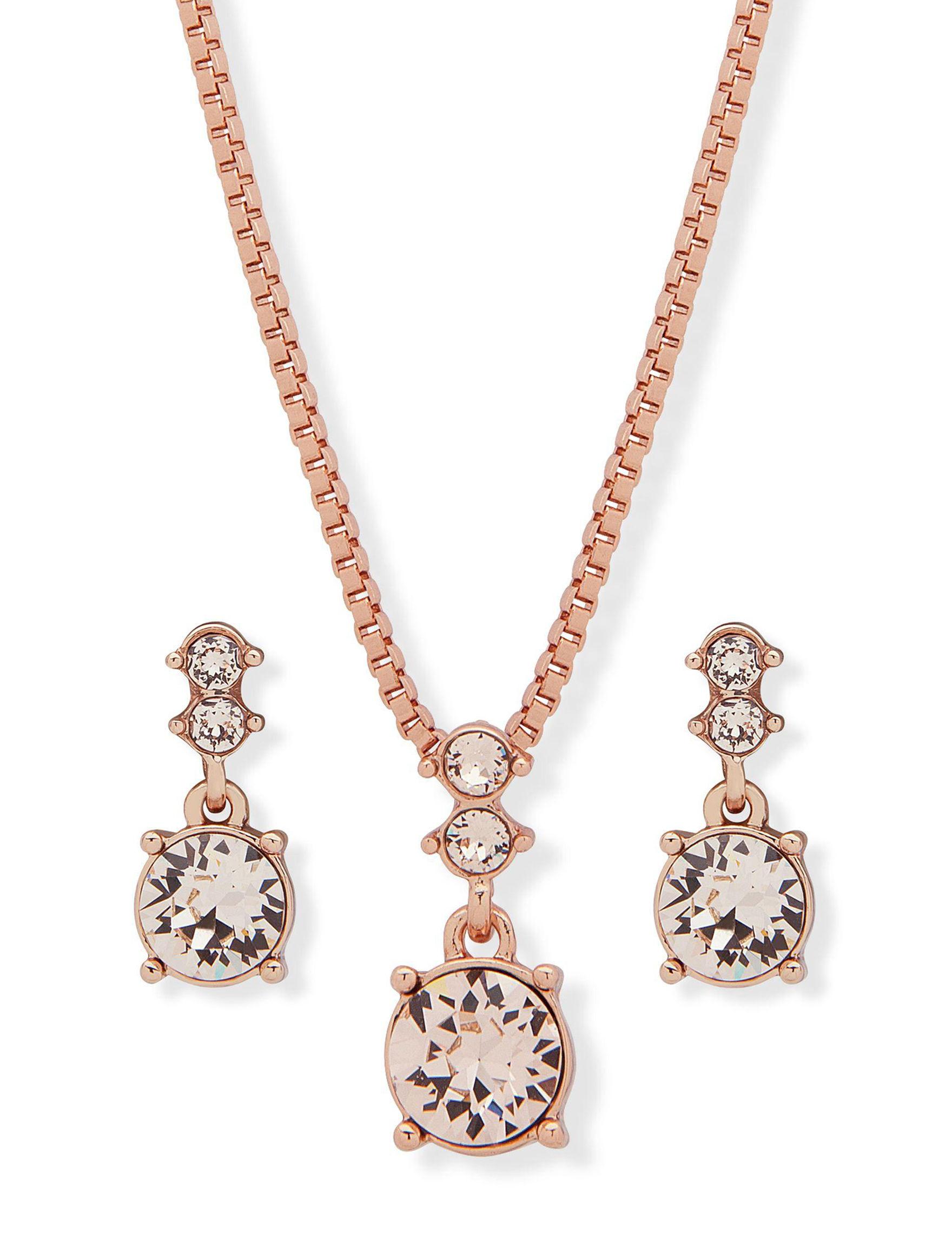 Gloria Vanderbilt Rose Gold / Pink Drops Earrings Necklaces & Pendants Fashion Jewelry