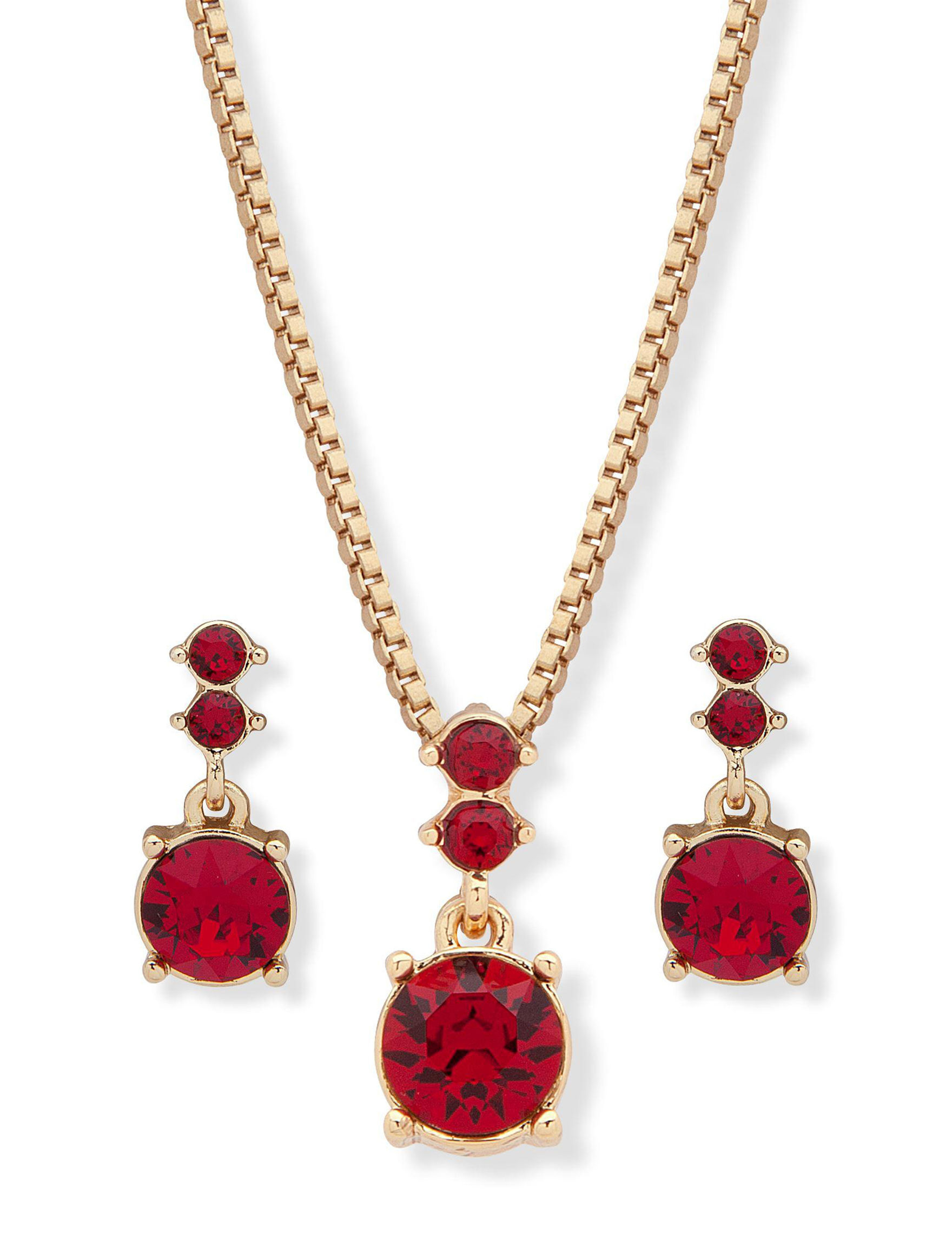 Gloria Vanderbilt Gold / Red Drops Earrings Jewelry Sets Necklaces & Pendants Fashion Jewelry