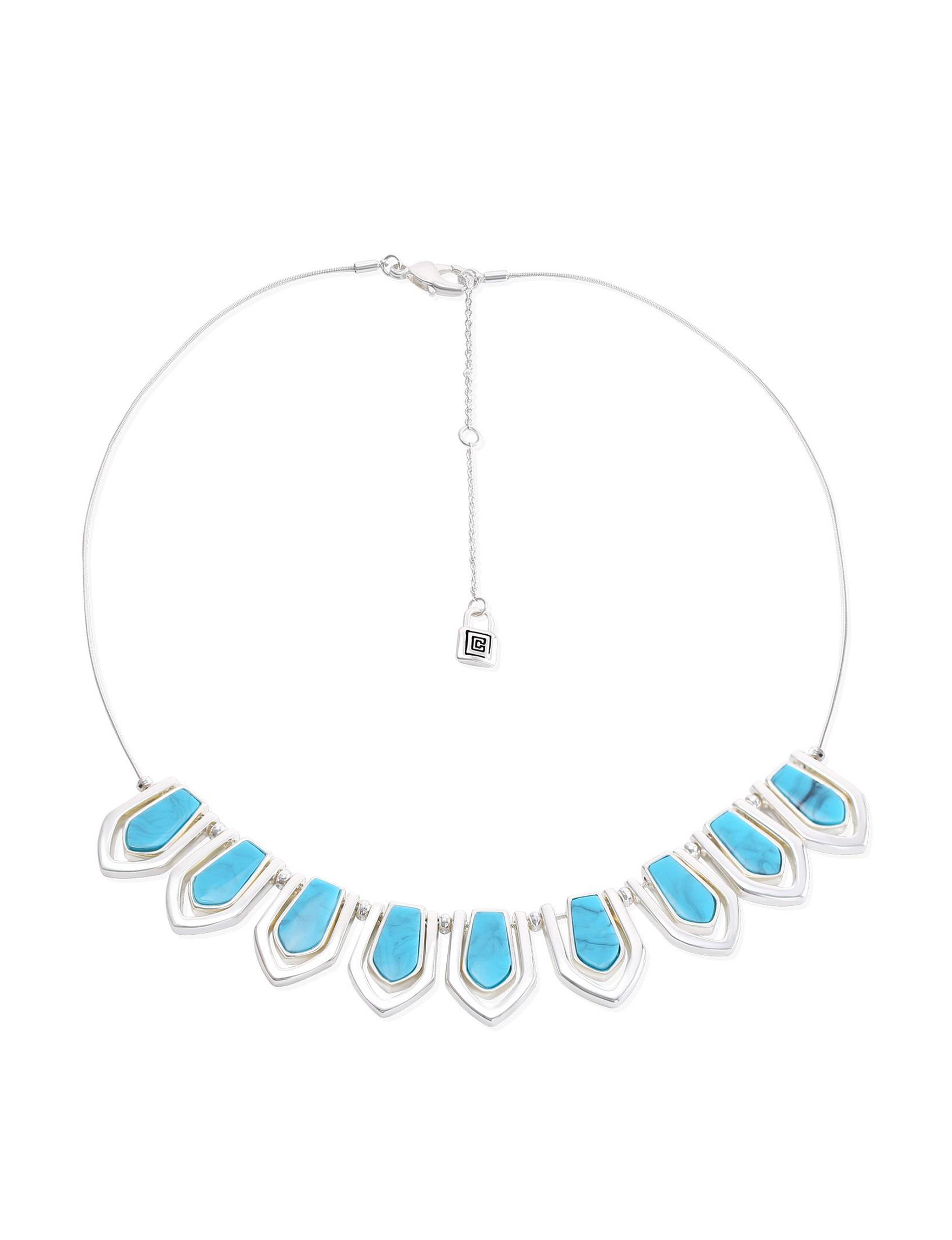 Chaps Turquoise / Silver Necklaces & Pendants Fashion Jewelry