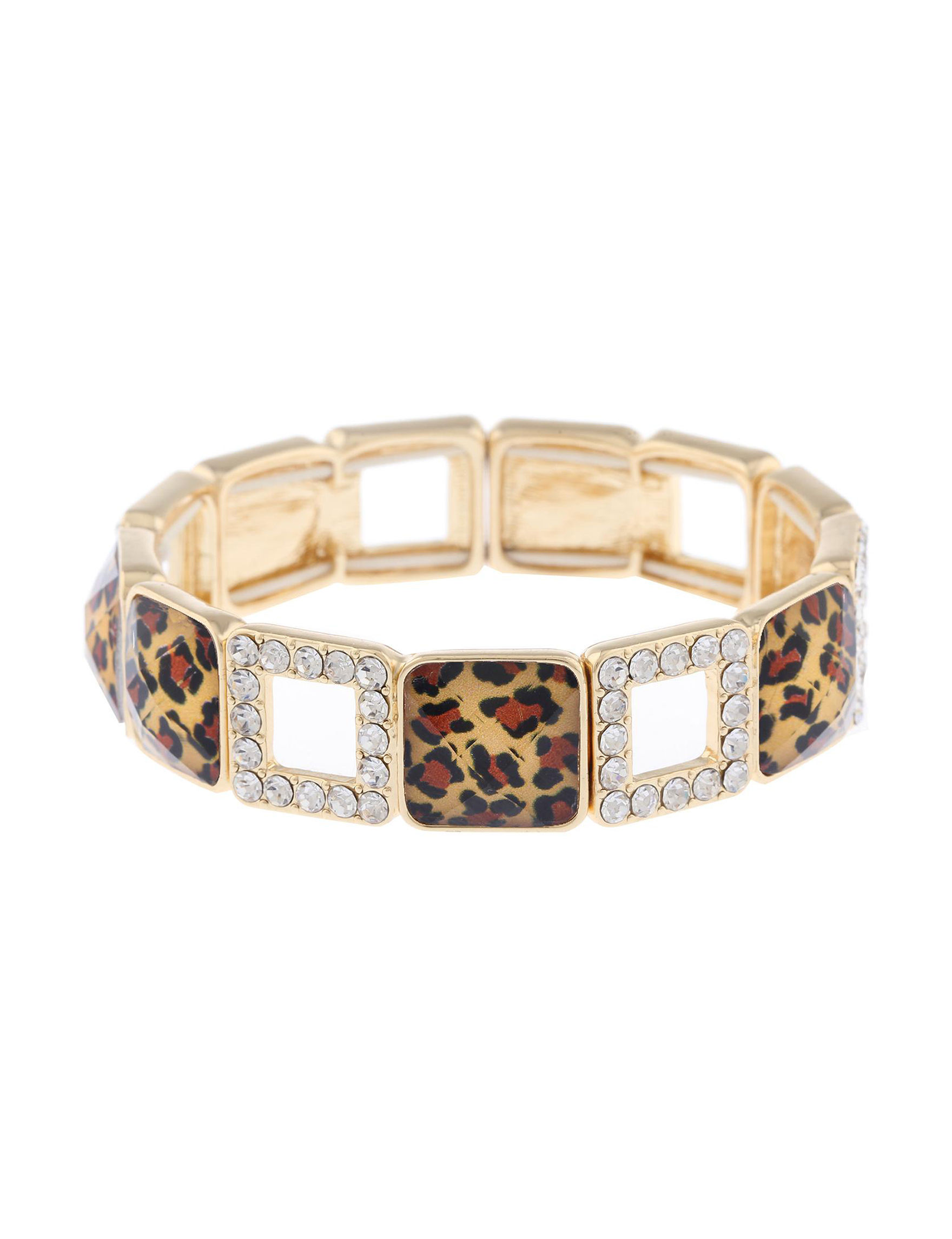 Gloria Vanderbilt Gold / Leopard / Crystal Bracelets Fashion Jewelry