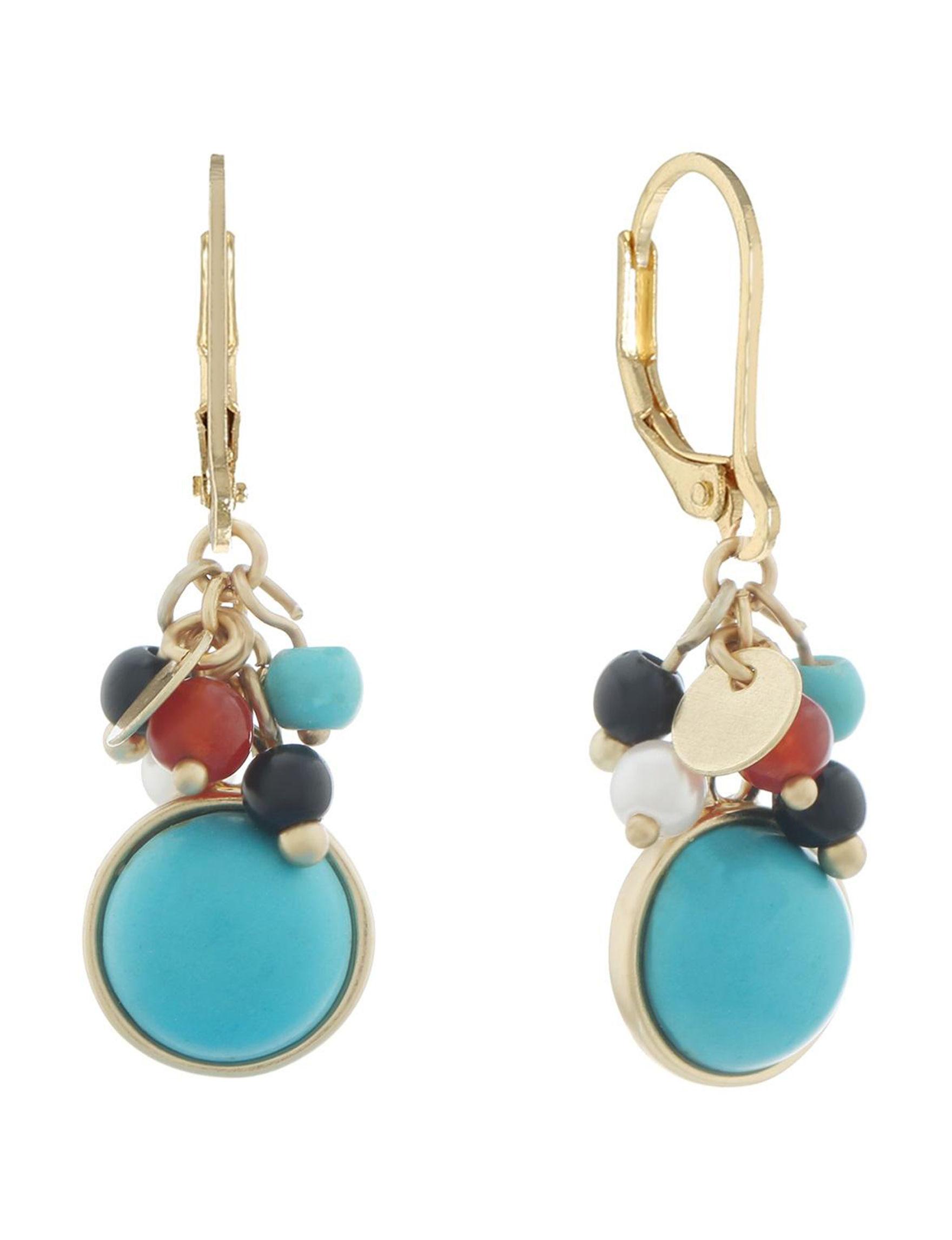 Chaps Gold / Multi Drops Earrings Fashion Jewelry