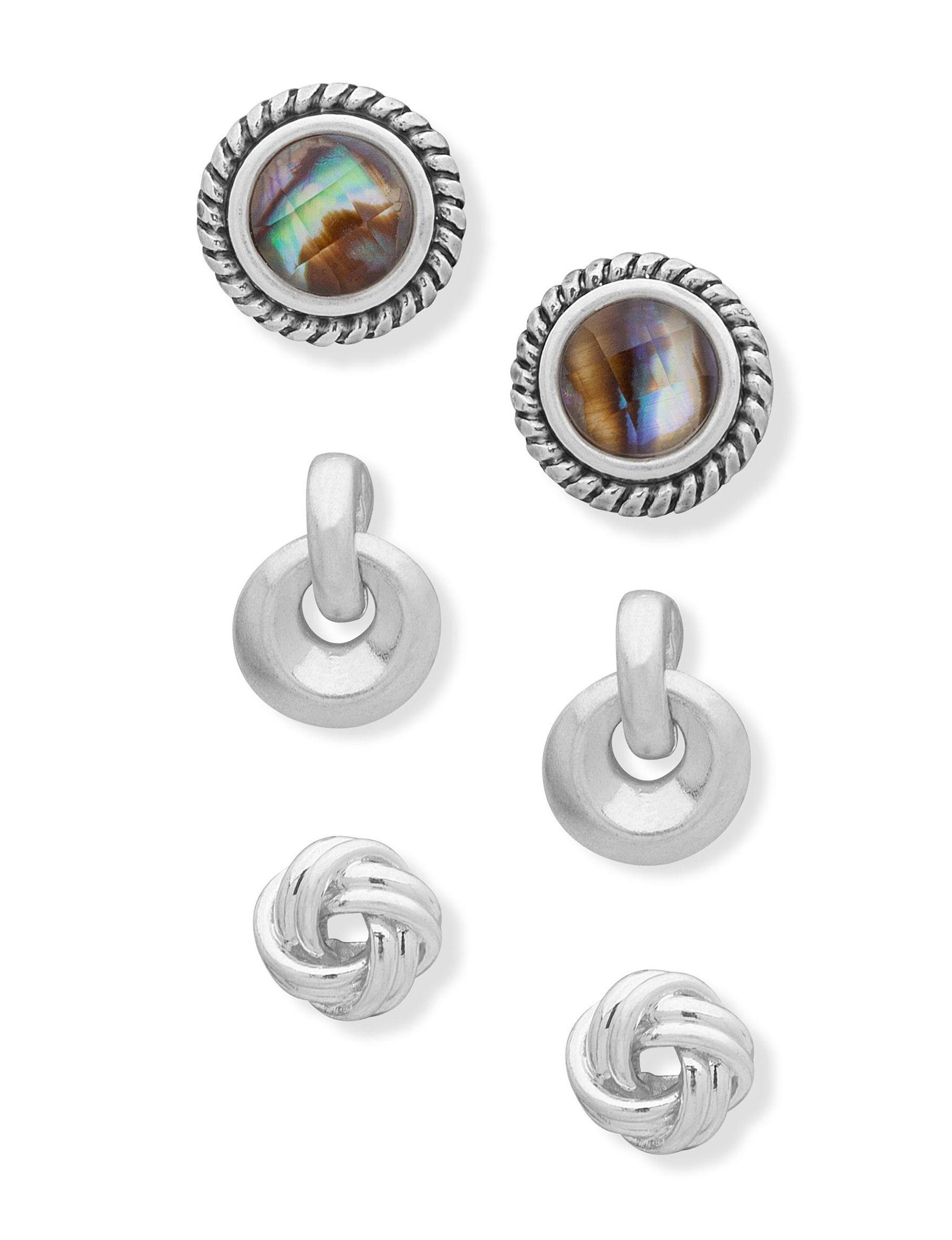 Chaps Silver / Multi Studs Earrings Fashion Jewelry
