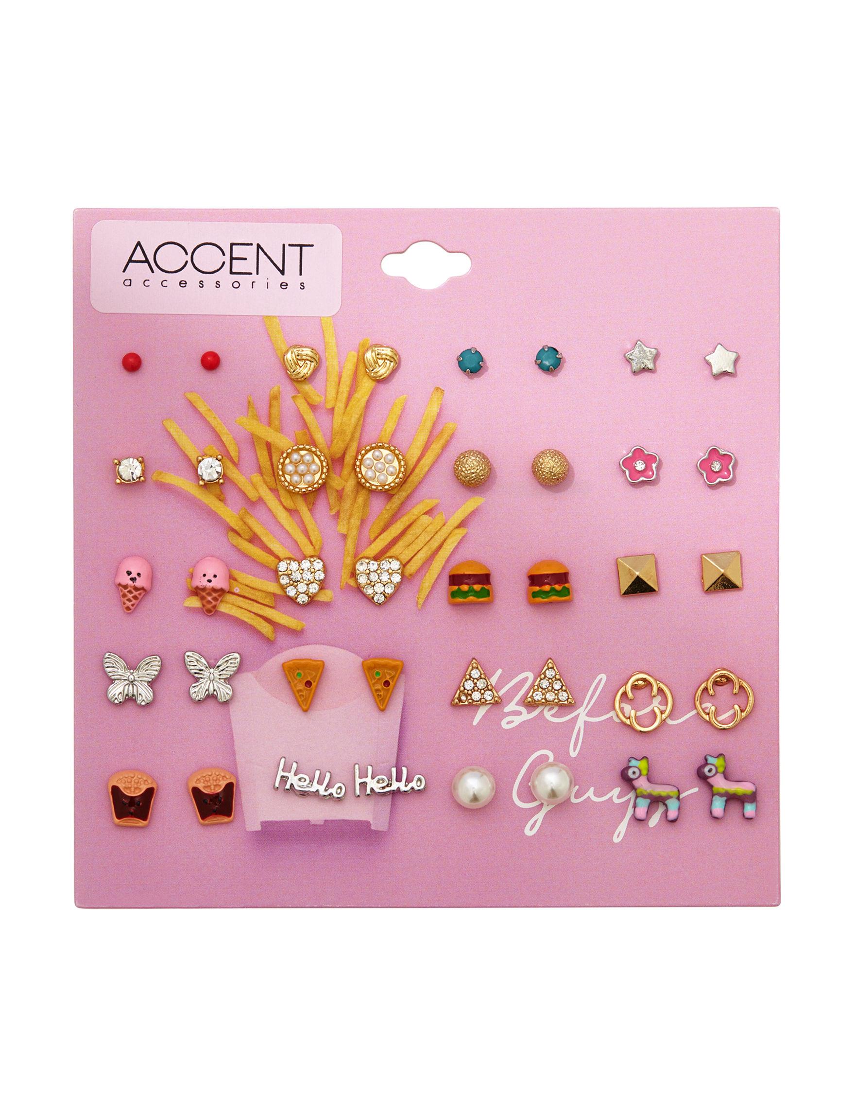 Hannah Two Tone Studs Earrings Fashion Jewelry