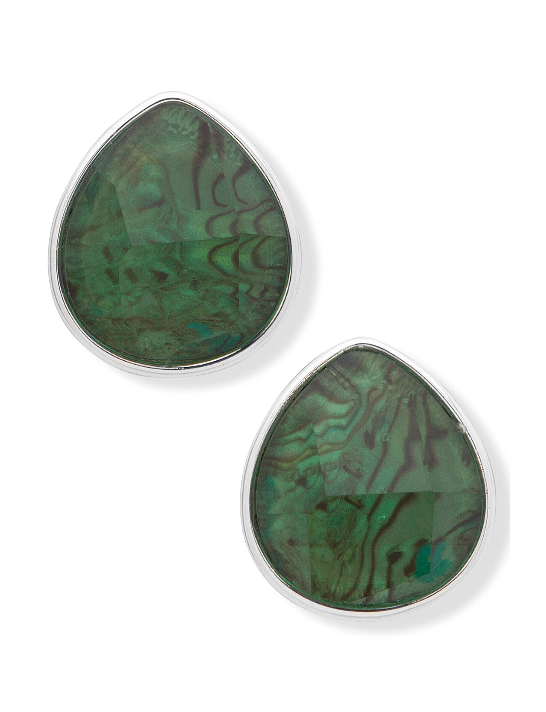 Gloria Vanderbilt Silver / Abalone Studs Earrings Fashion Jewelry