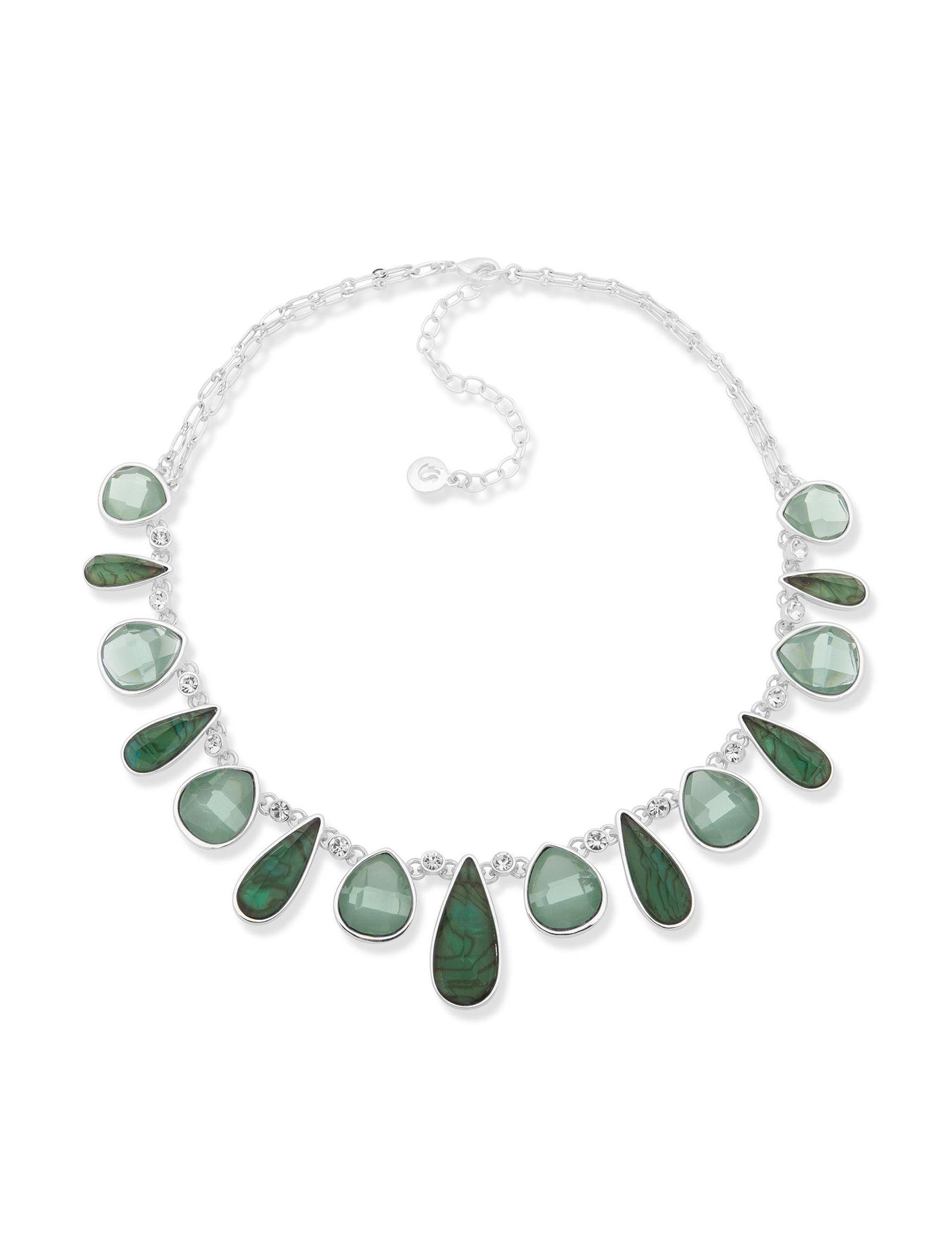 Gloria Vanderbilt Silver / Abalone Necklaces & Pendants Fashion Jewelry