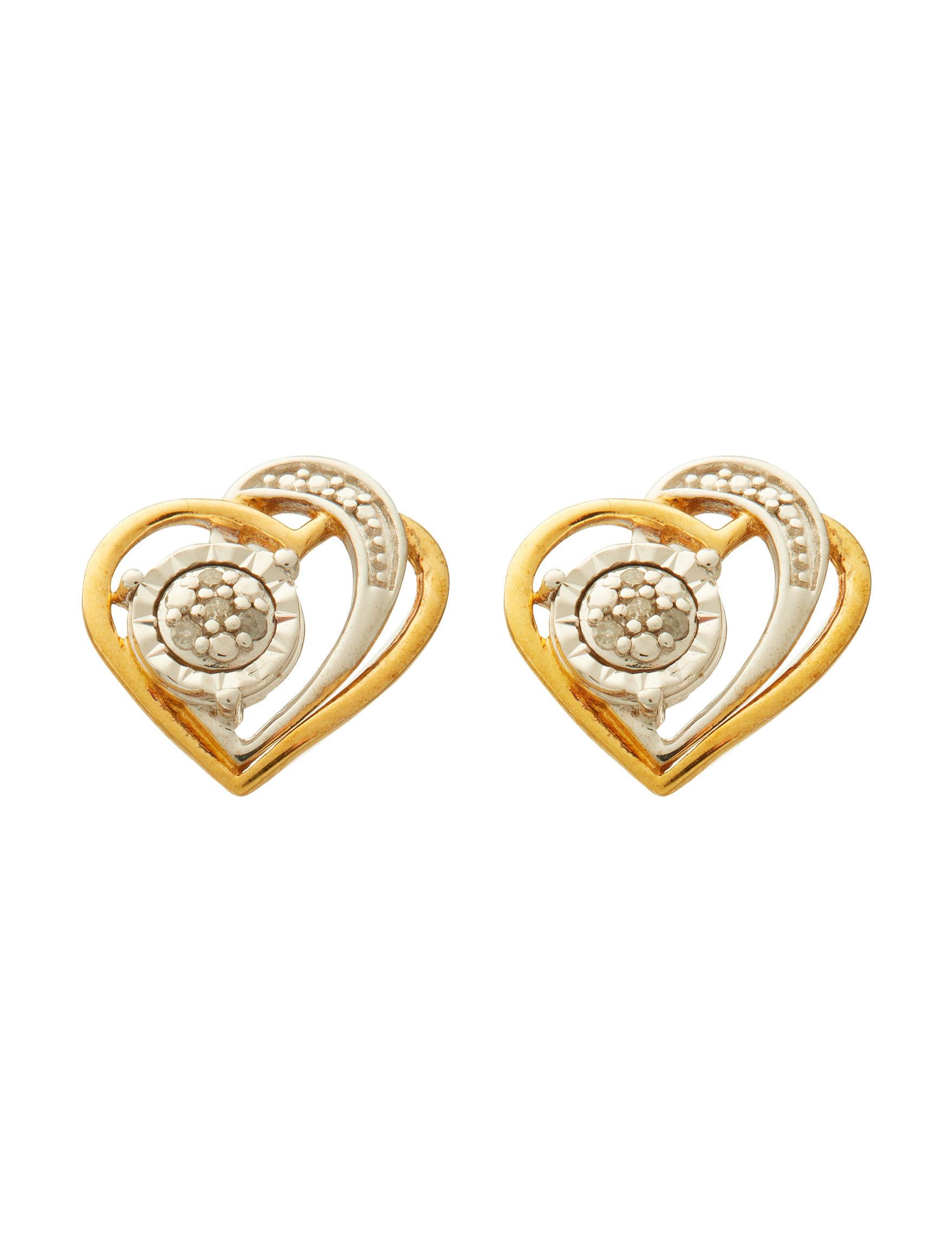 Marsala Gold / Diamond Studs Earrings Fine Jewelry