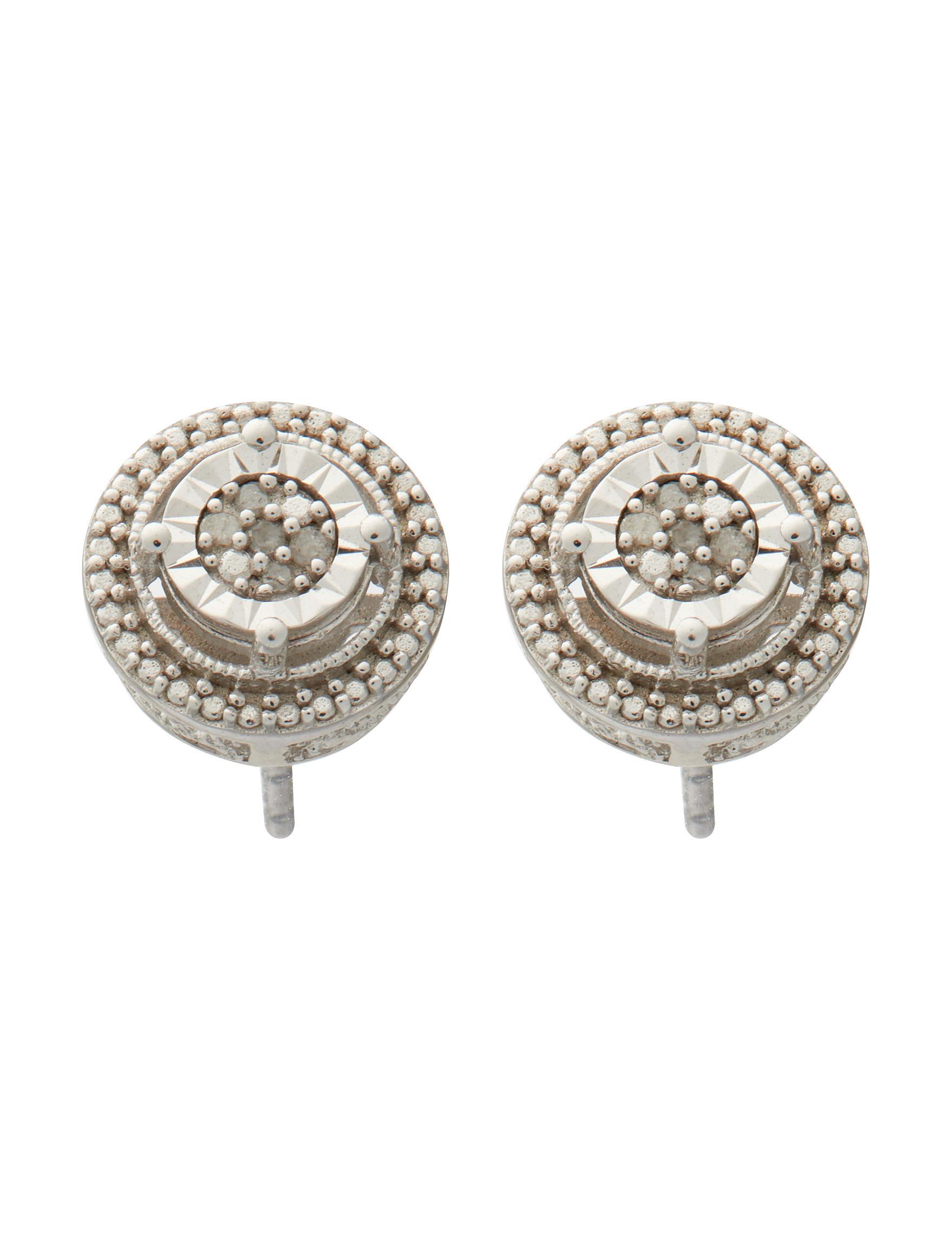 Marsala Sterling Silver / Diamond Studs Earrings Fine Jewelry