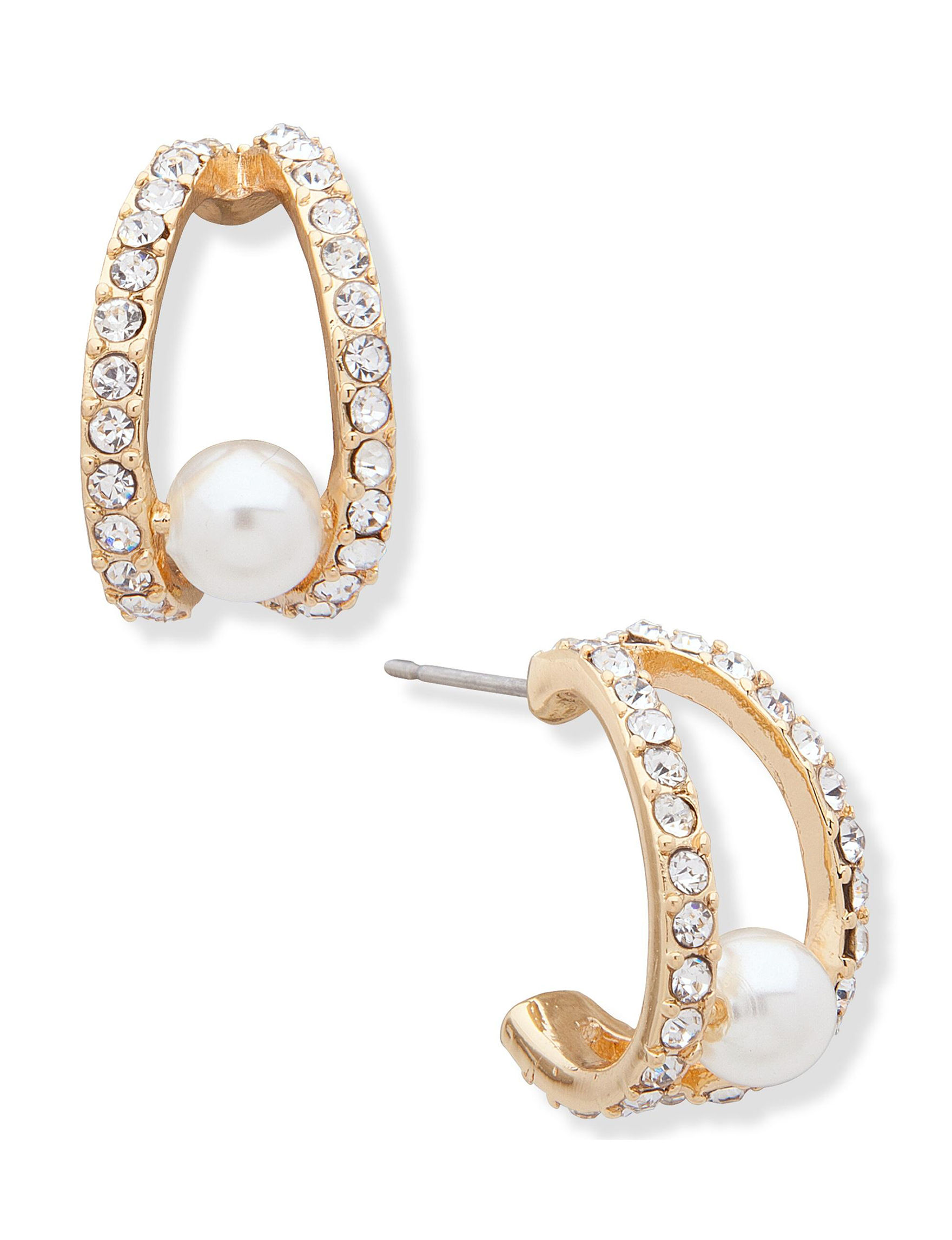 You're Invited Gold / Pearl Hoops Earrings Fashion Jewelry