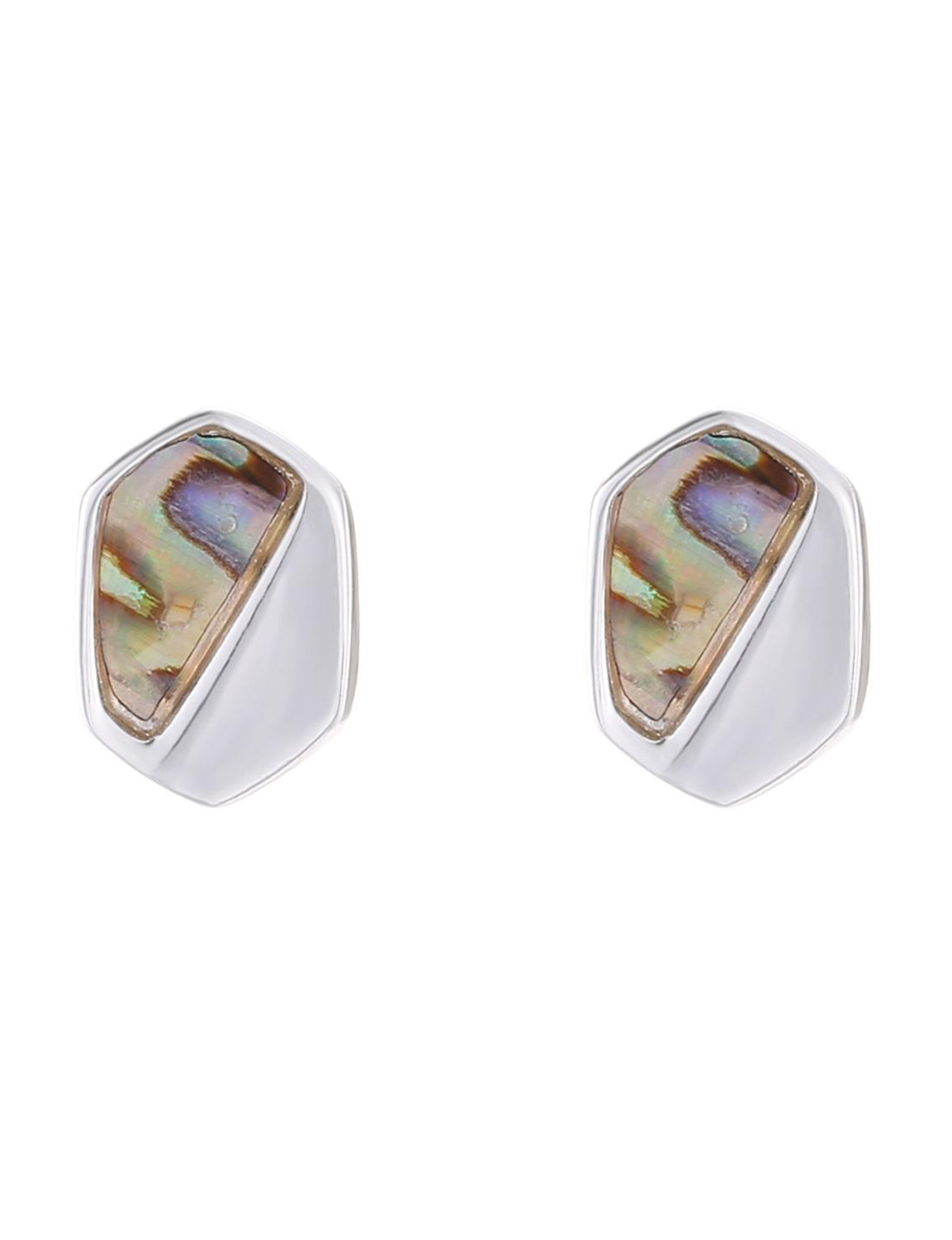 Chaps White / Abalone Studs Earrings Fashion Jewelry