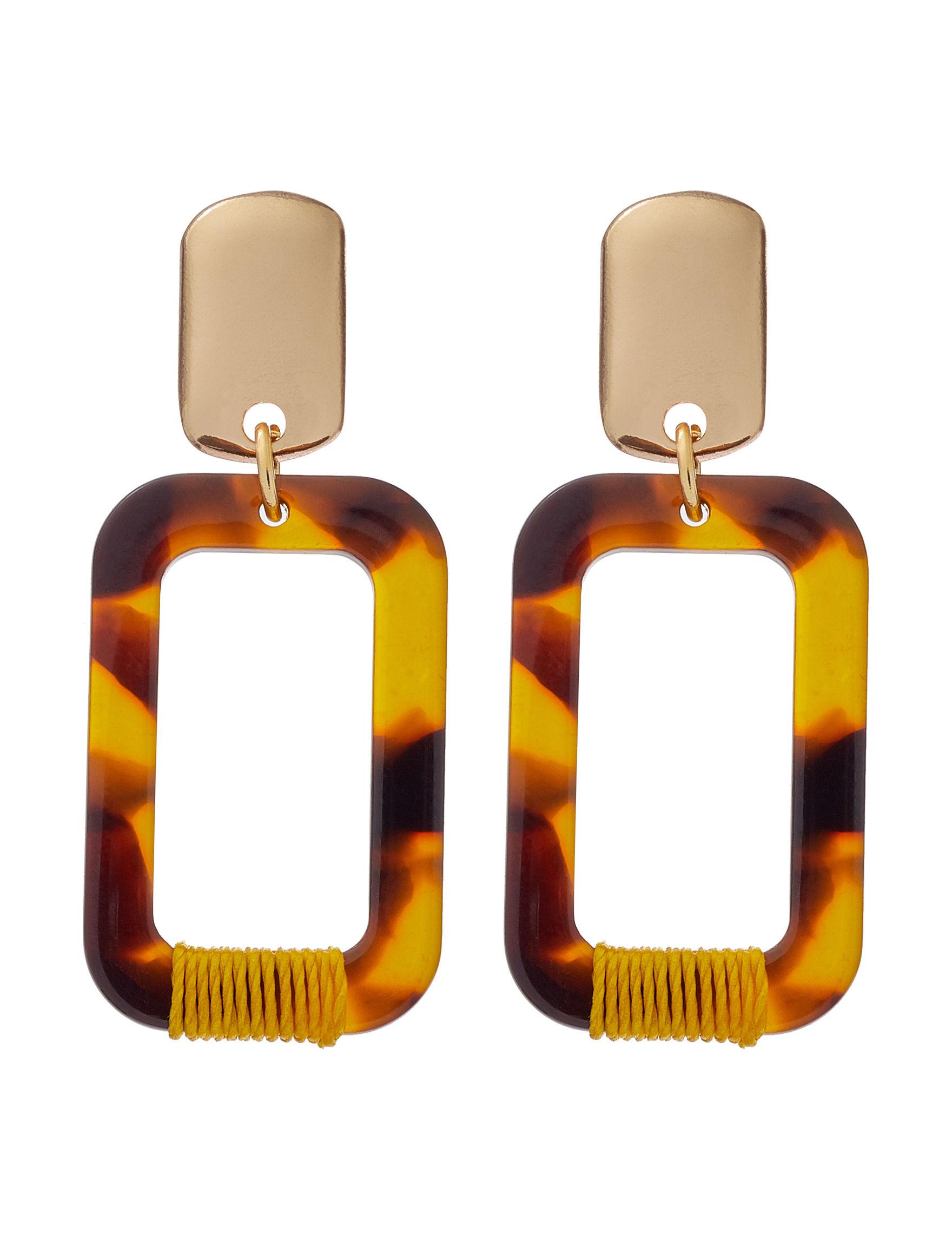 Hannah Gold / Brown Multi Drops Earrings Fashion Jewelry