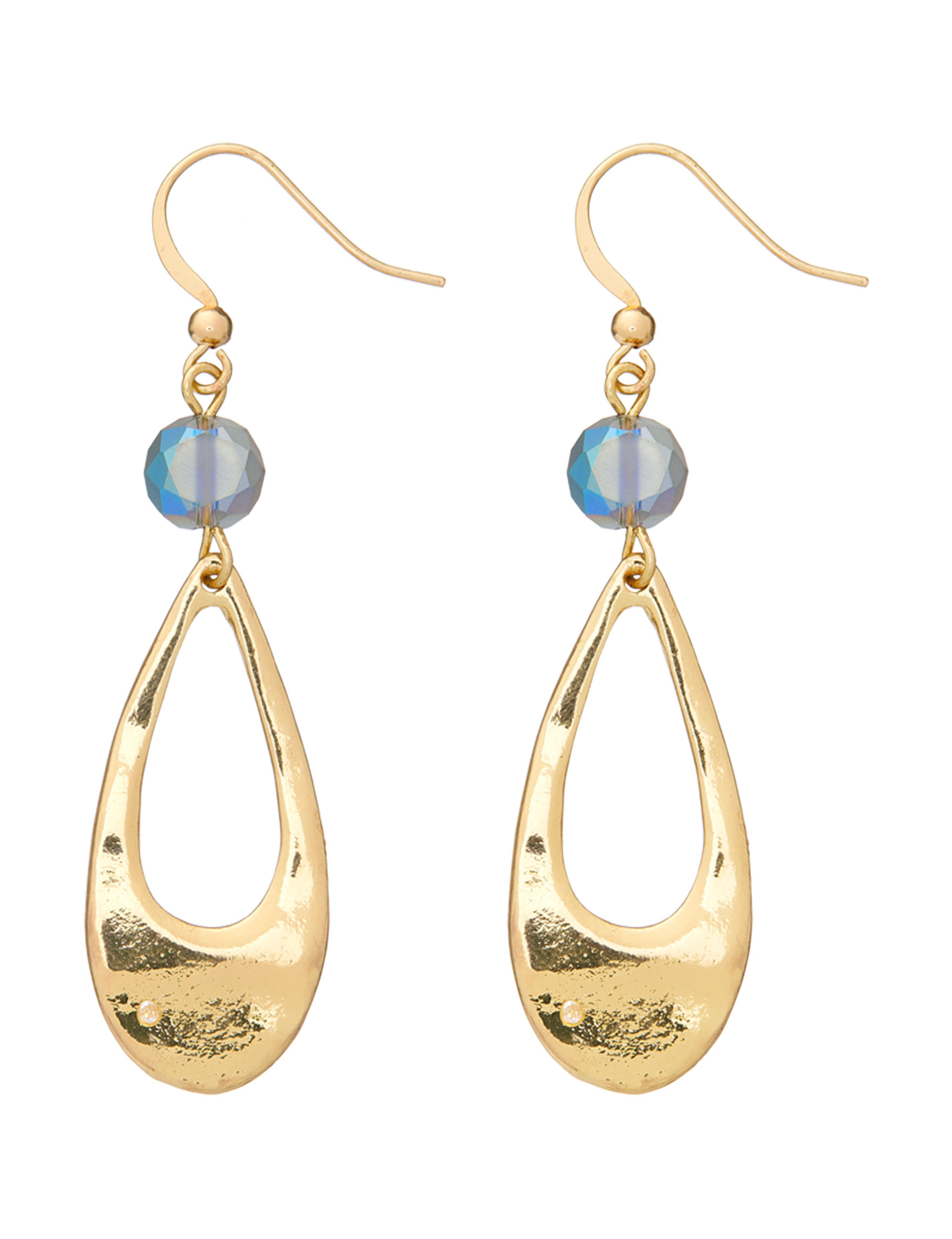 Hannah Blue / Gold Drops Earrings Fashion Jewelry