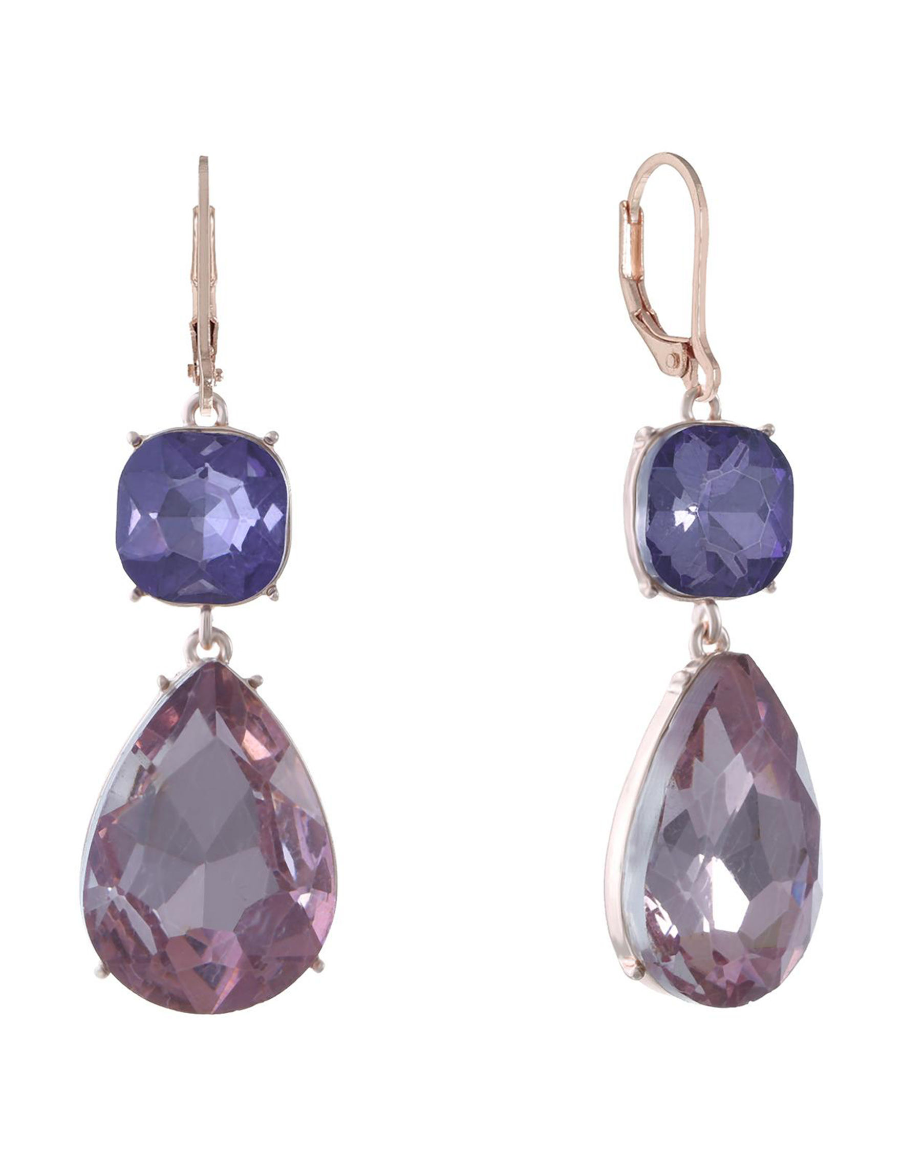 Gloria Vanderbilt Rose Gold / Purple Drops Earrings Fashion Jewelry