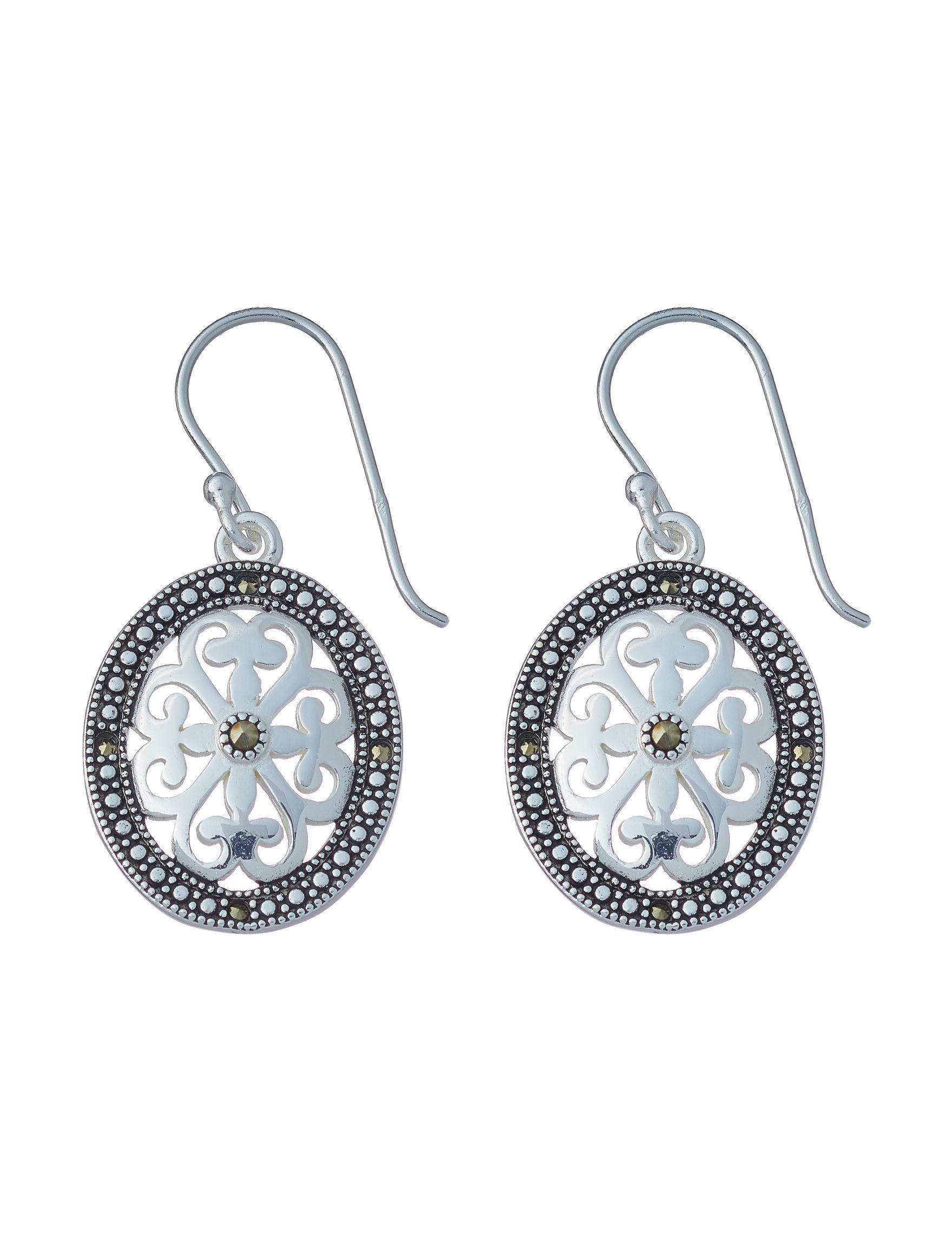 Marsala Black / Silver Drops Earrings Fine Jewelry