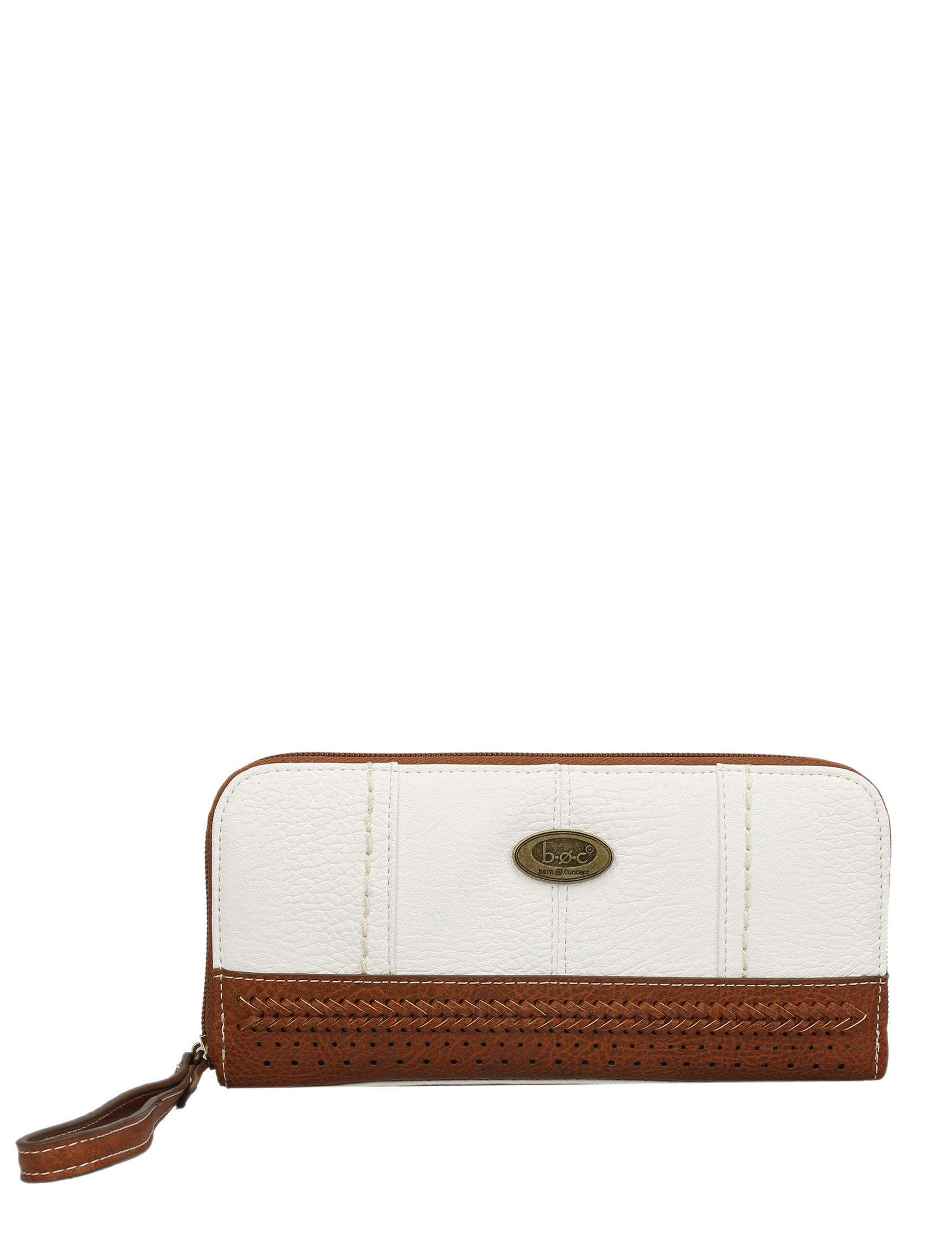 B.O.C. White / Brown Wallet Wristlet Tech Accessories