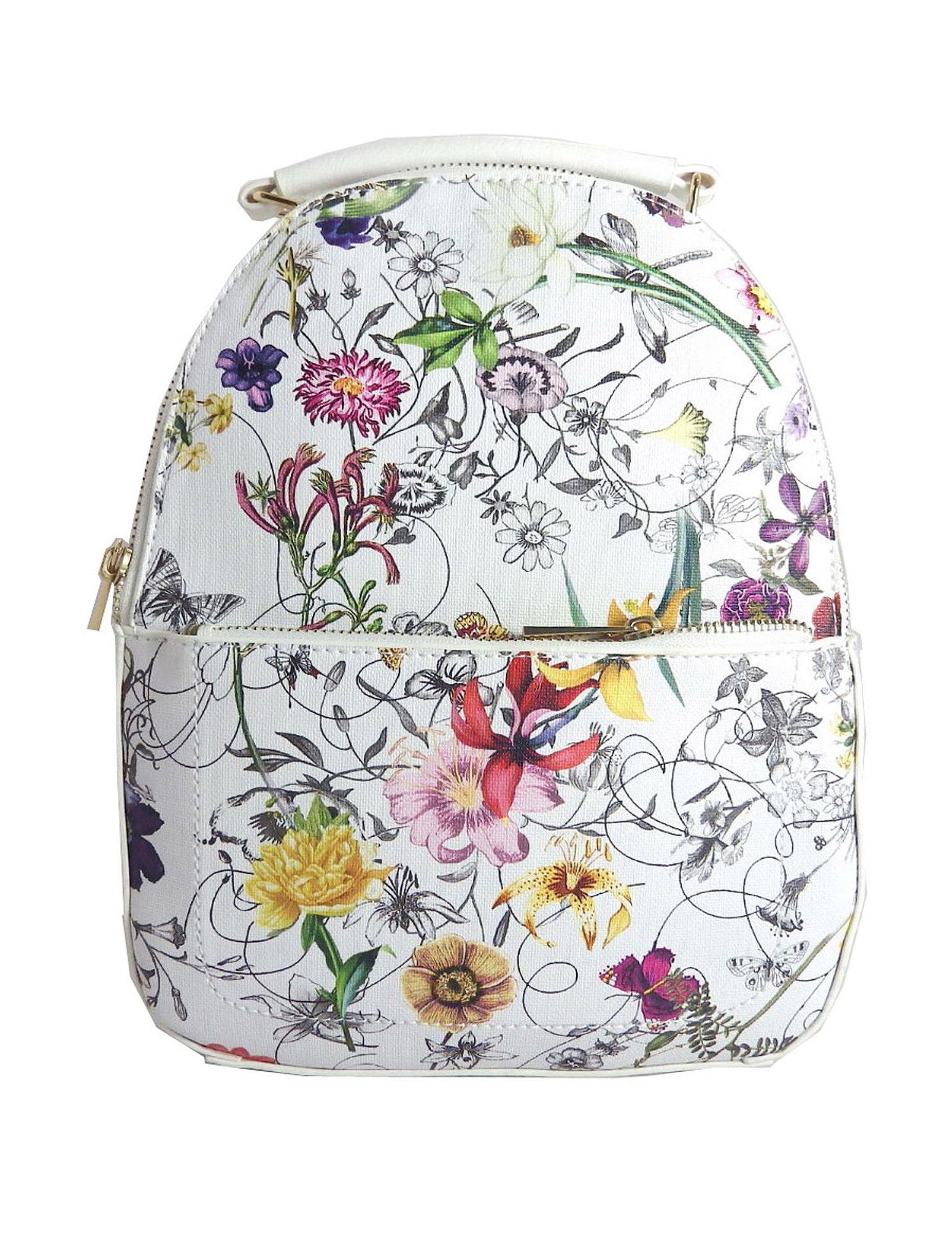 Valerie Stevens White Floral Bookbags & Backpacks