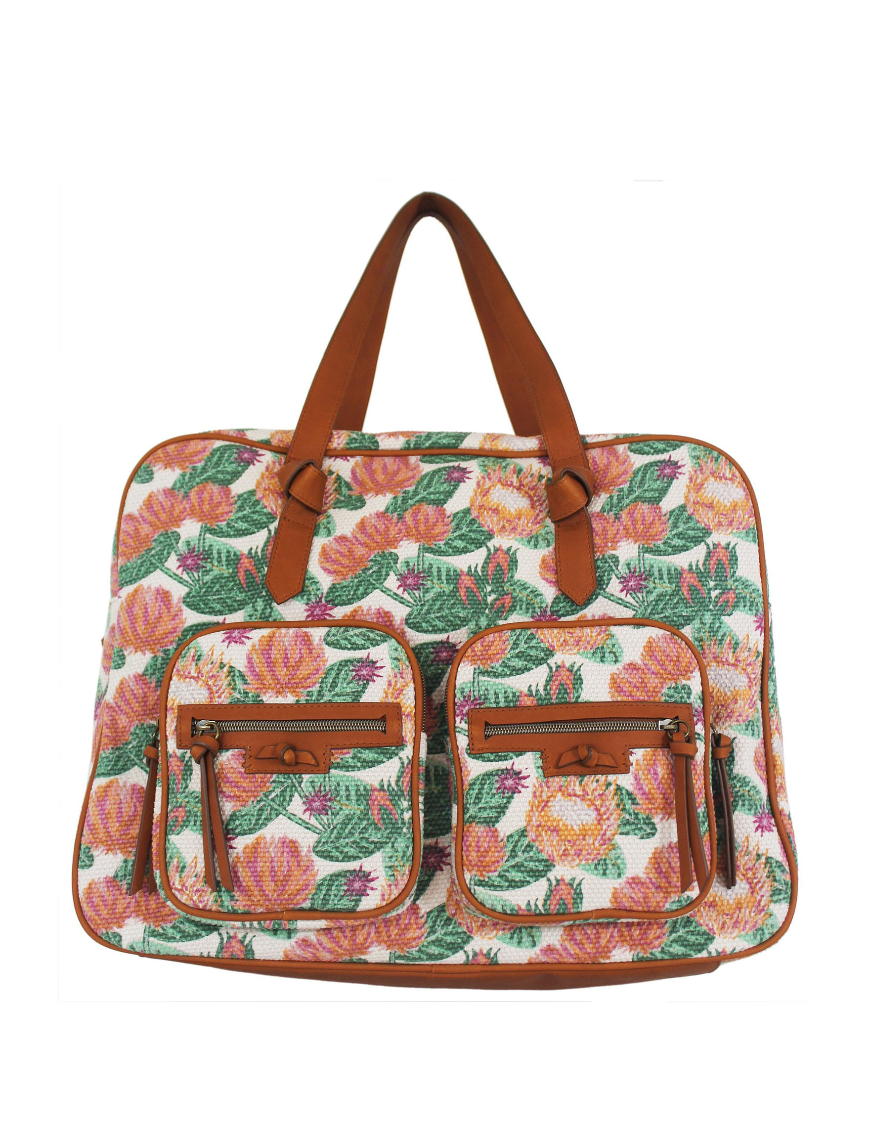 T Shirt & Jeans Green Floral Weekend Bags