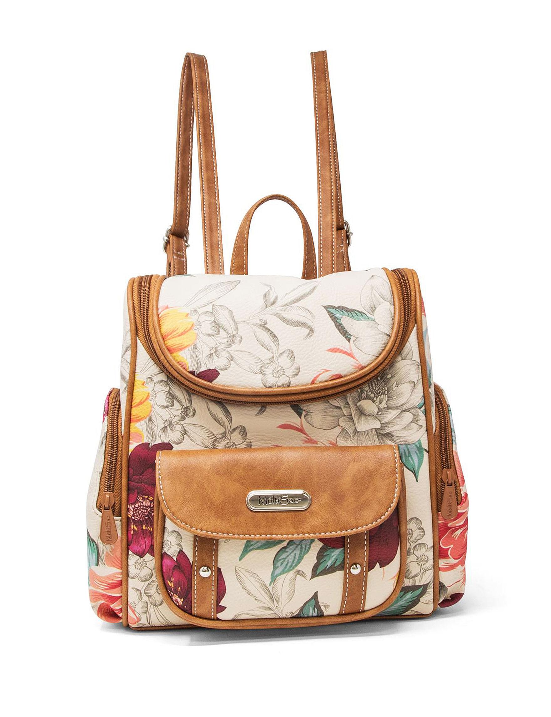 Koltov Beige Floral Bookbags & Backpacks