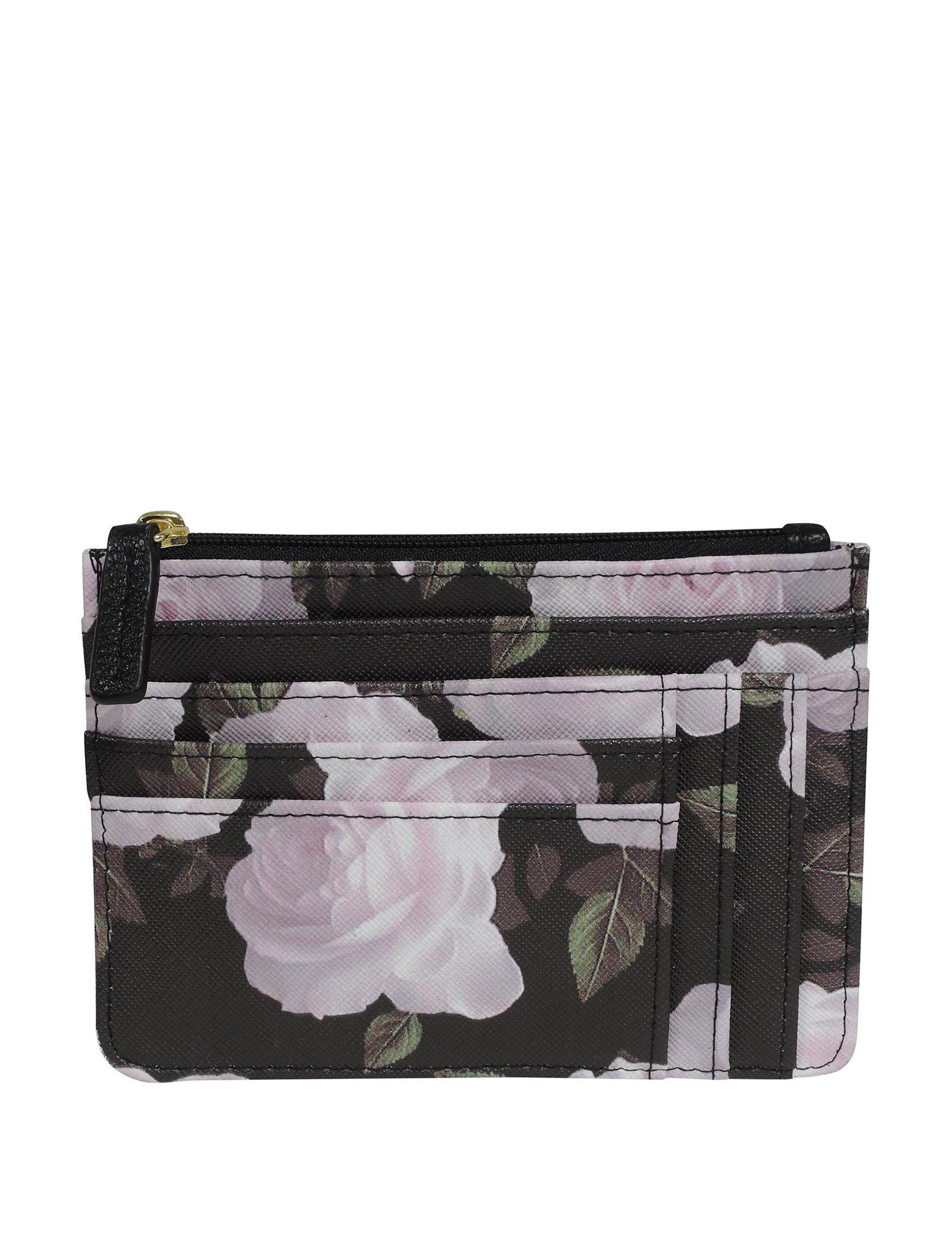 Buxton Black Floral Wallet