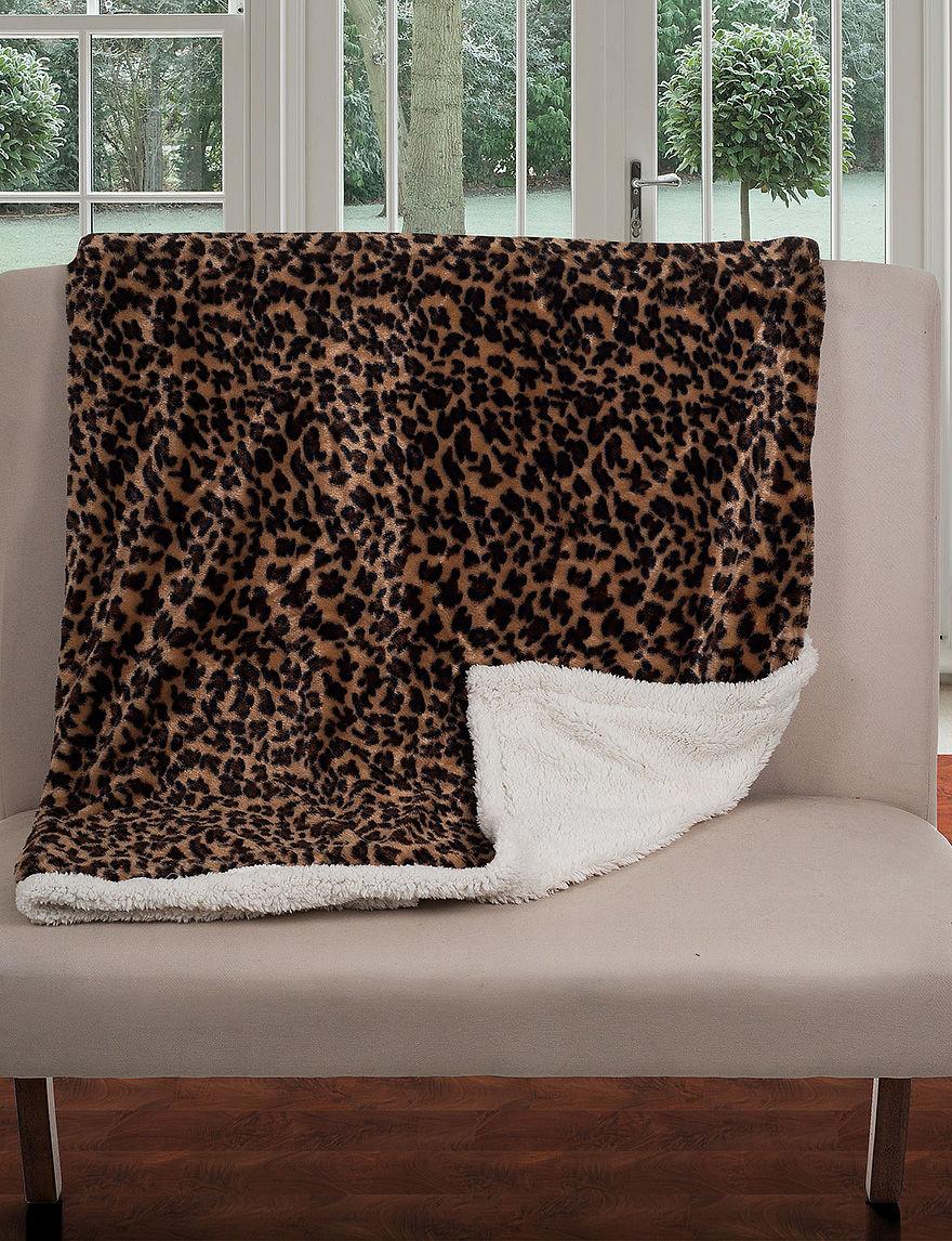 Lavish Home Fleece Amp Sherpa Leopard Print Throw Blanket