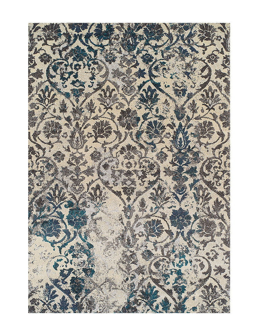 Dalyn Rugs Modern Greys Collection Teal Damask Print Area
