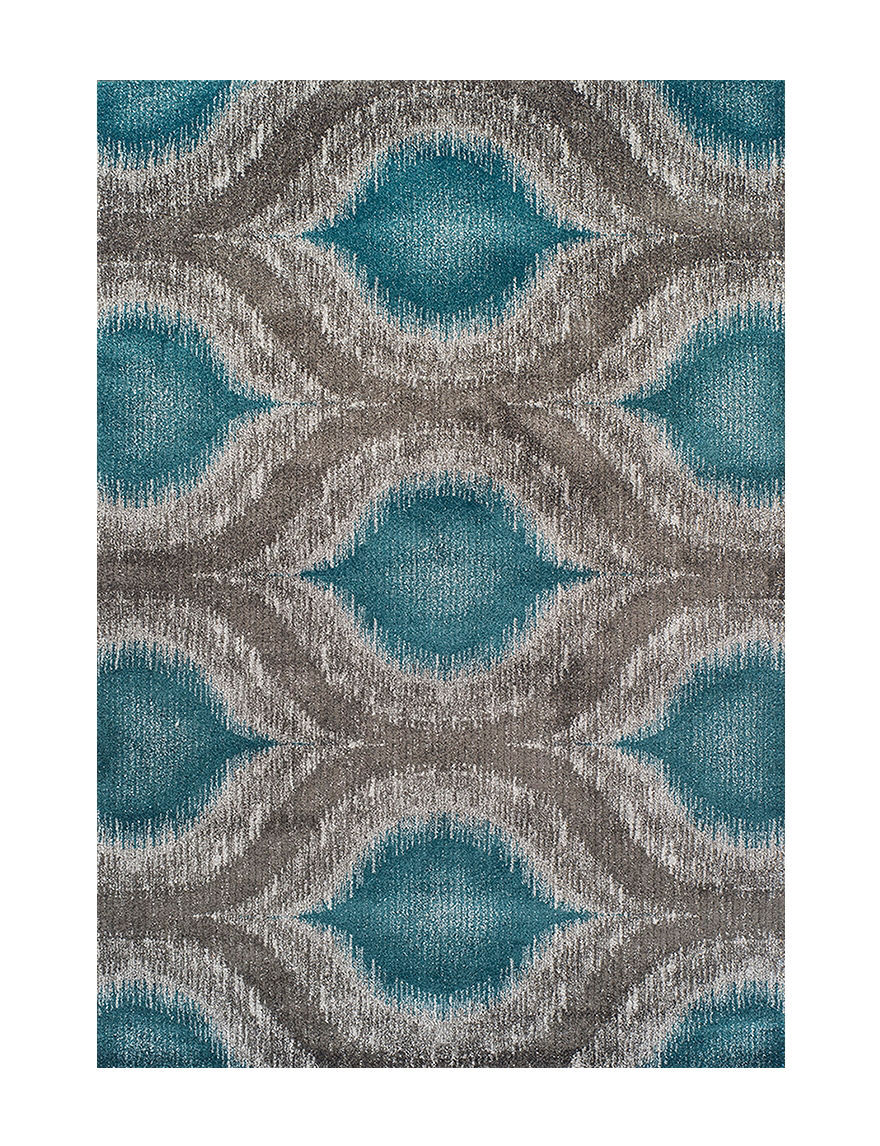 Dalyn Rugs Modern Greys Collection Teal Large Ikat Print