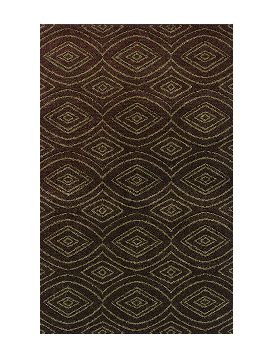 Dalyn Rugs Radiance Collection Chocolate Brown Retro Print