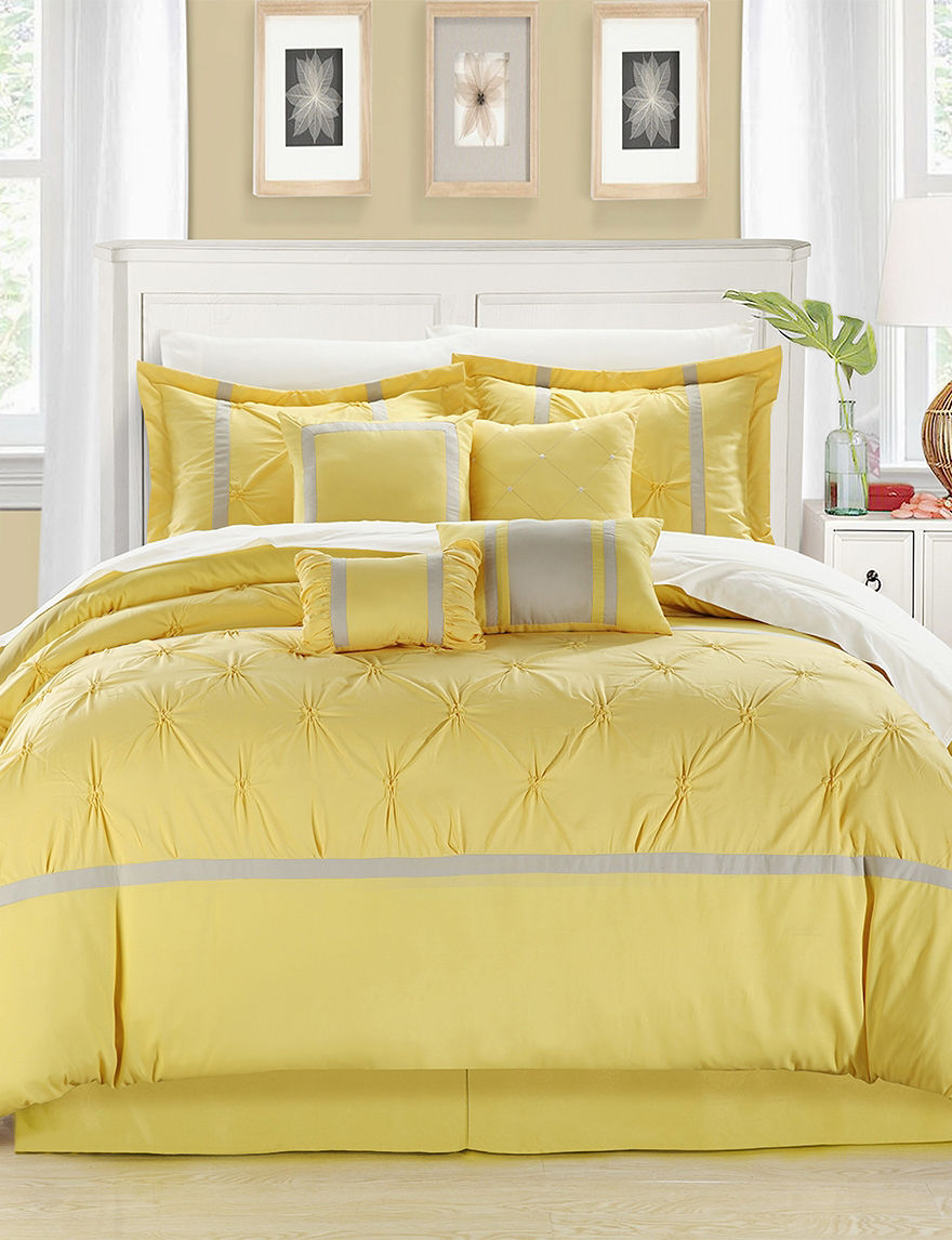 Chic Home Design 8-pc. Vermont Yellow & Gray Brushed