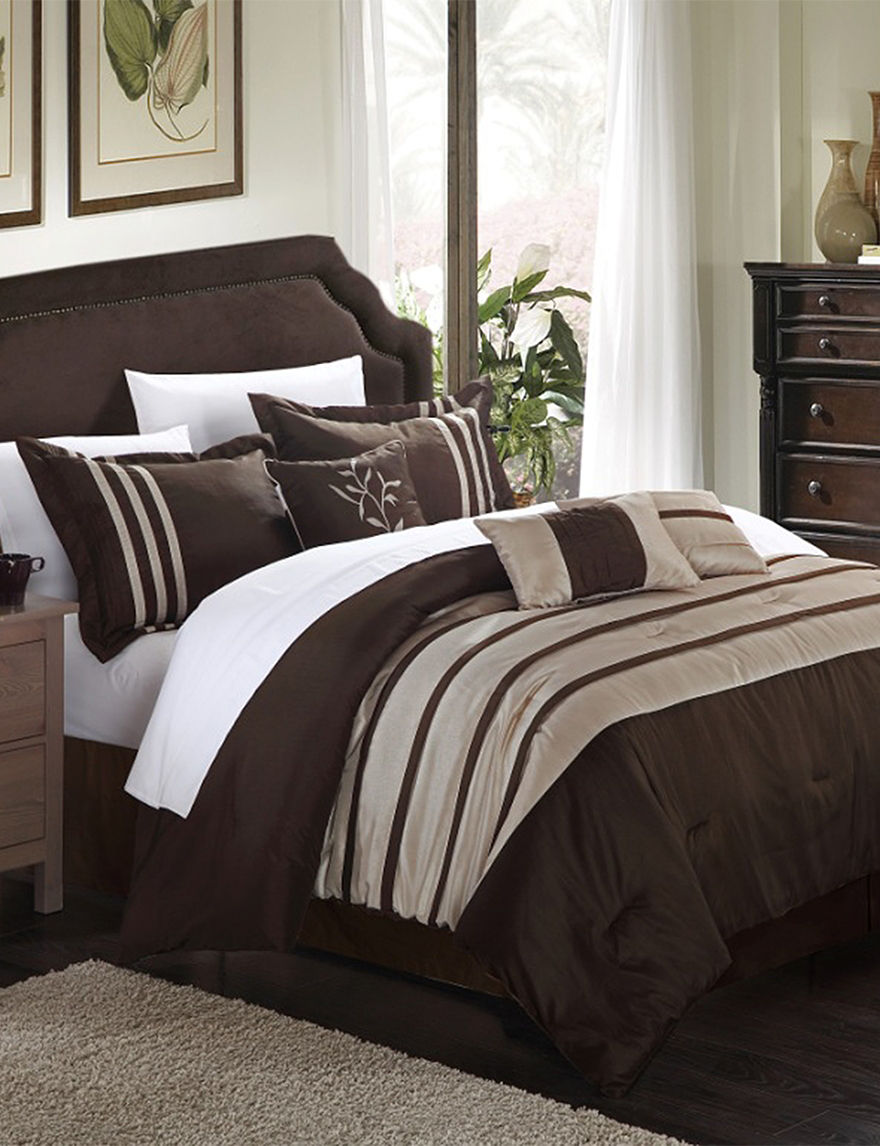 Chic Home Design 7 Pc Luxury Brown Amp Taupe Microfiber