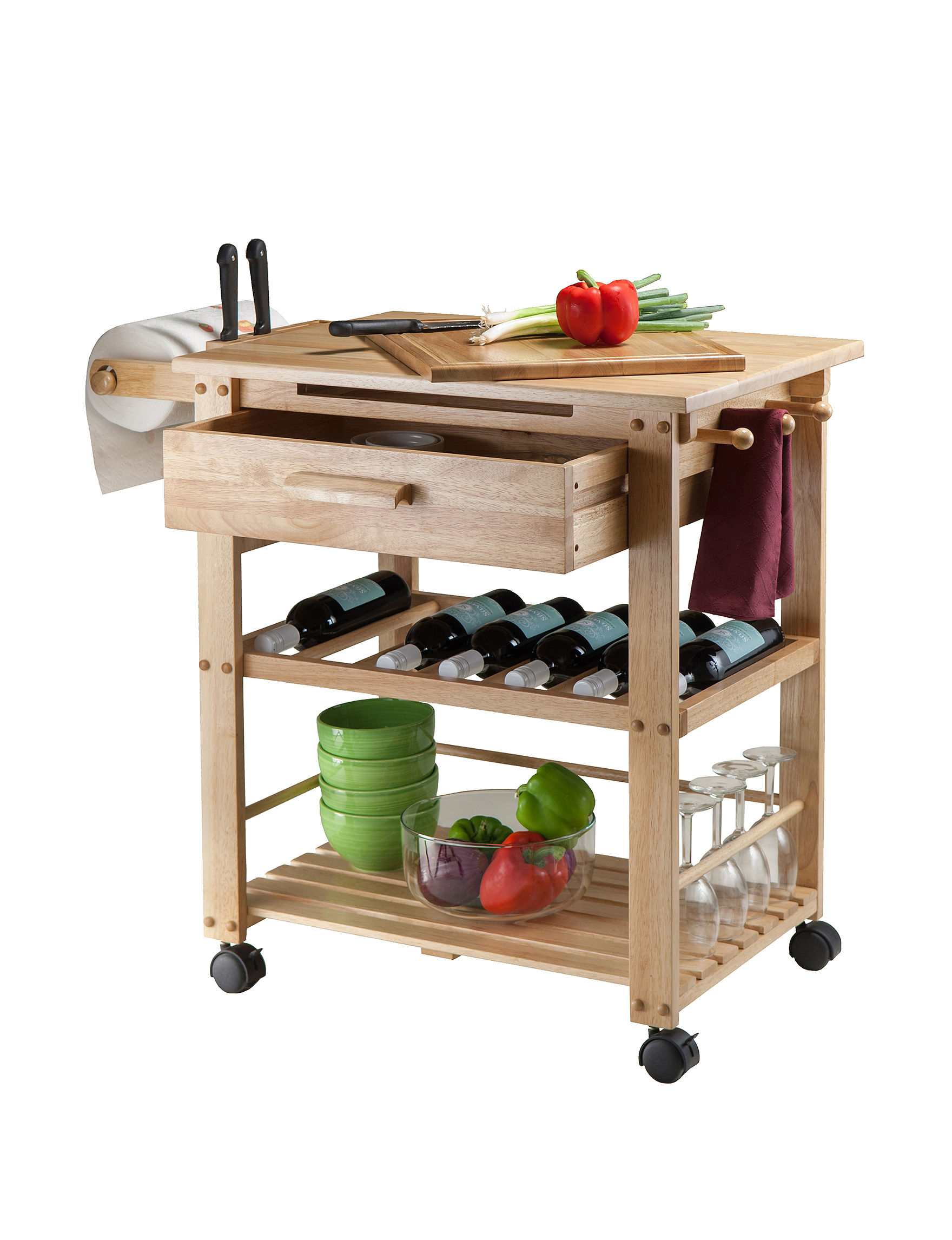 Winsome Tan Kitchen Islands & Carts Kitchen & Dining Furniture