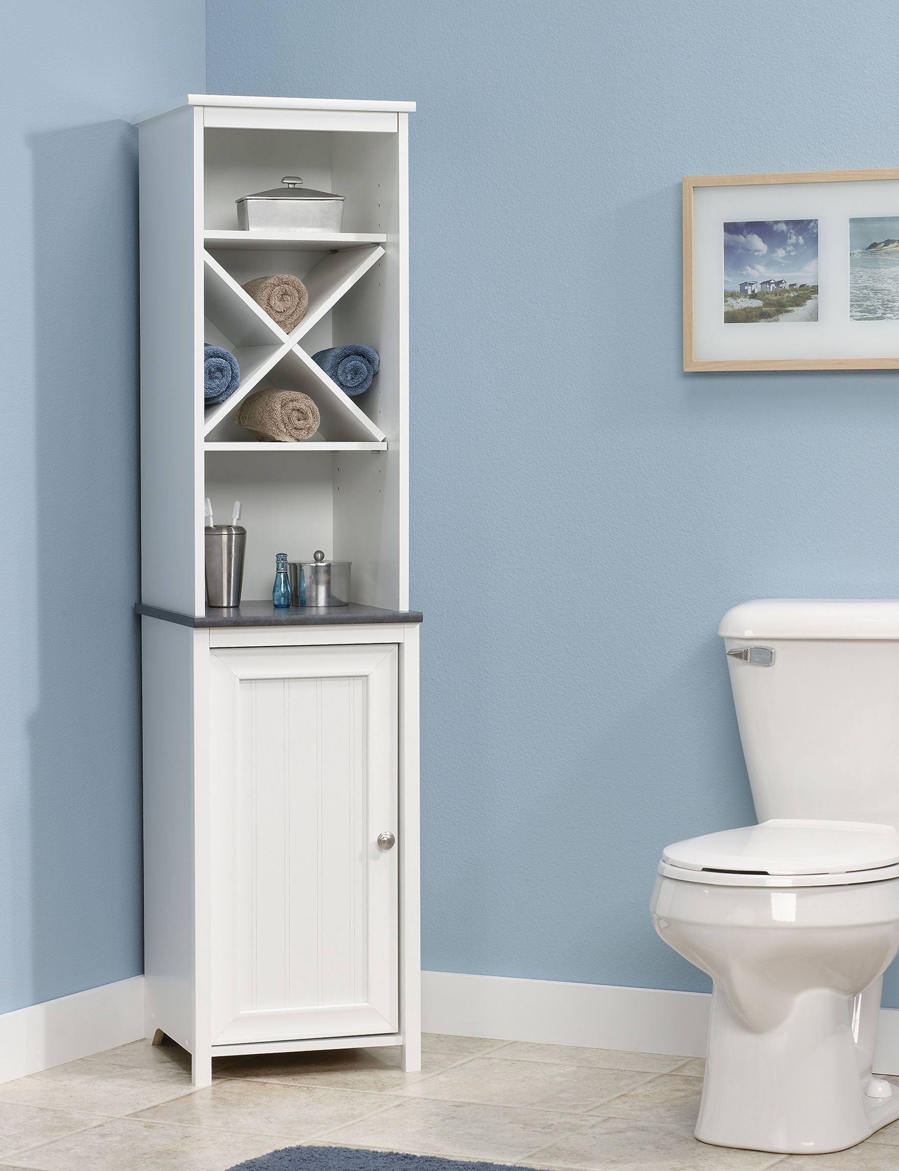Sauder Off White Storage Shelves Bathroom Furniture
